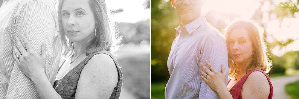 Backlit photo of engaged couple at Percy Warner Park in Nashville TN