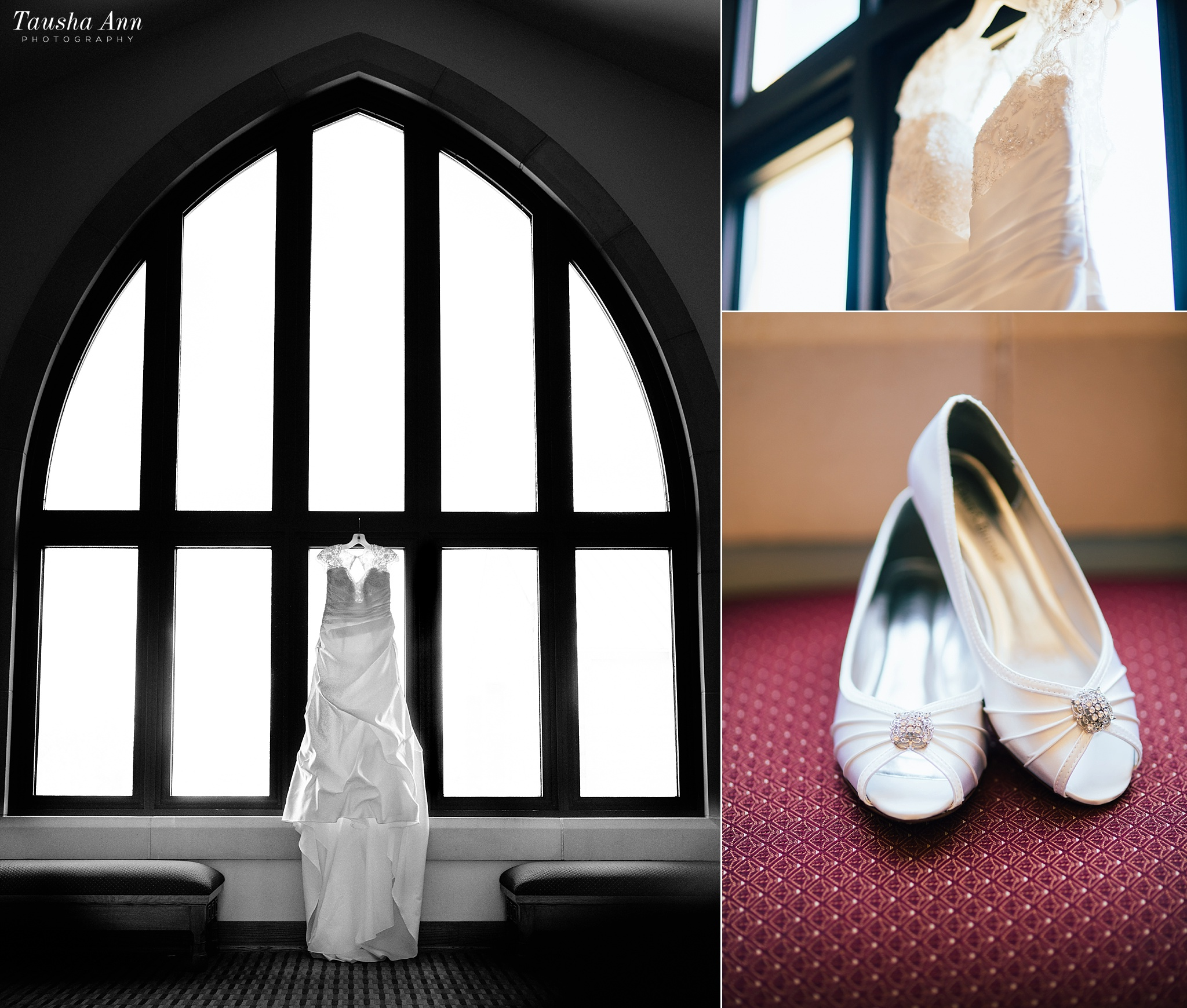 Dress hanging from Window, close up of Wedding Dress and Bride's shoes