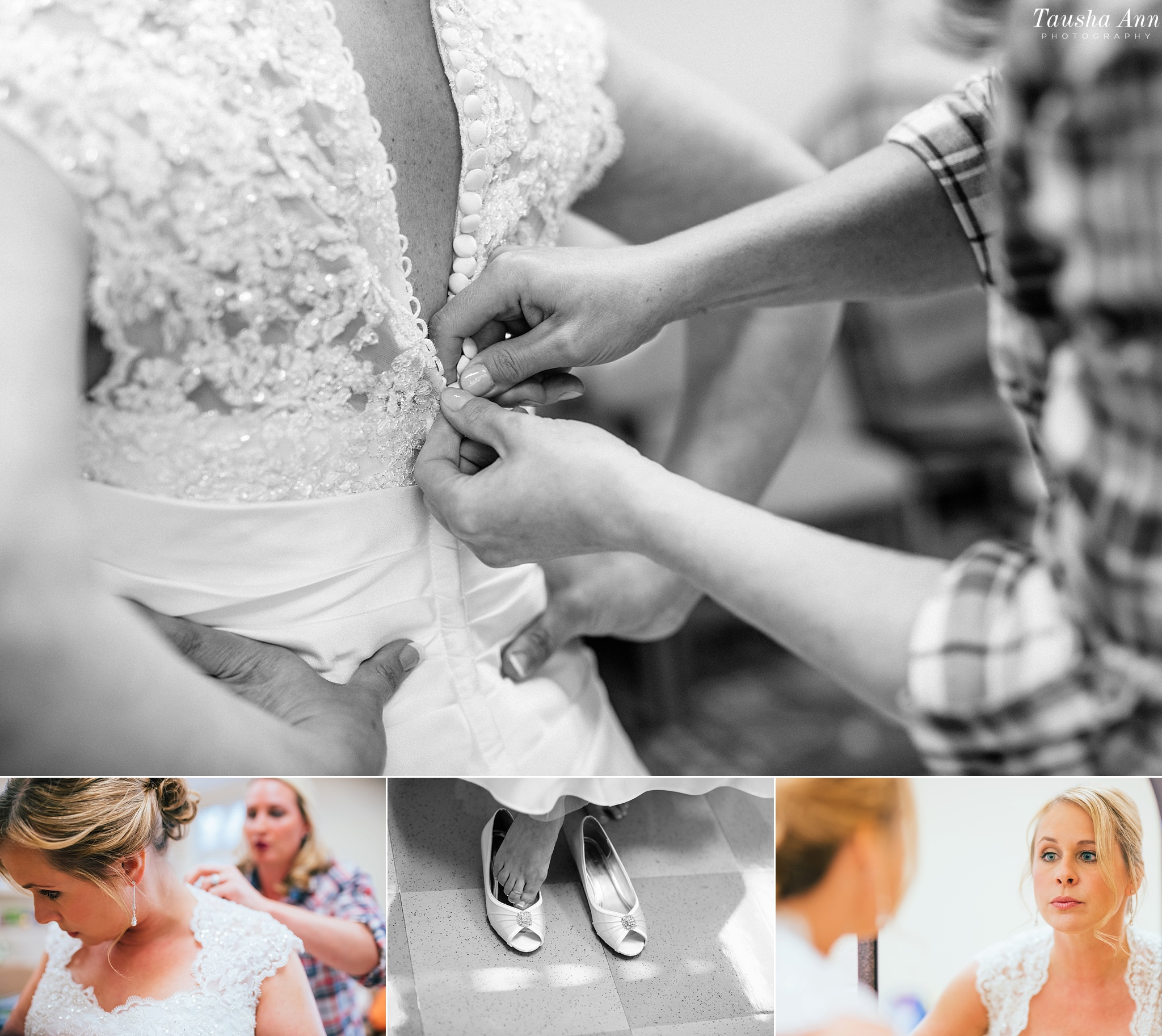 Buttoning up Bride wedding dress. Bride putting on shoes. Bride looking at herself in mirror.