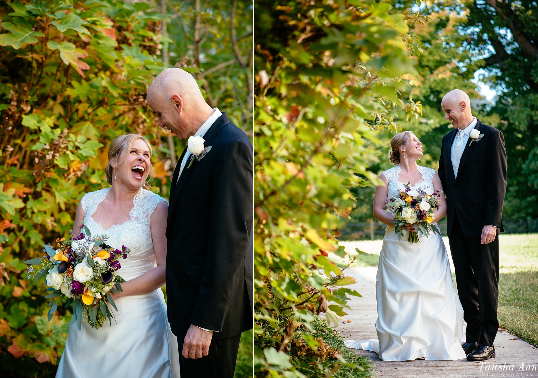 Portraits of Bride and Groom laughing after first look
