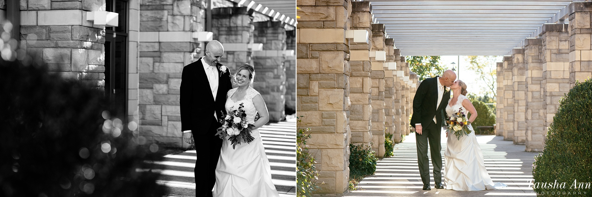 Bride and Groom Portraits outdoors in breezeway