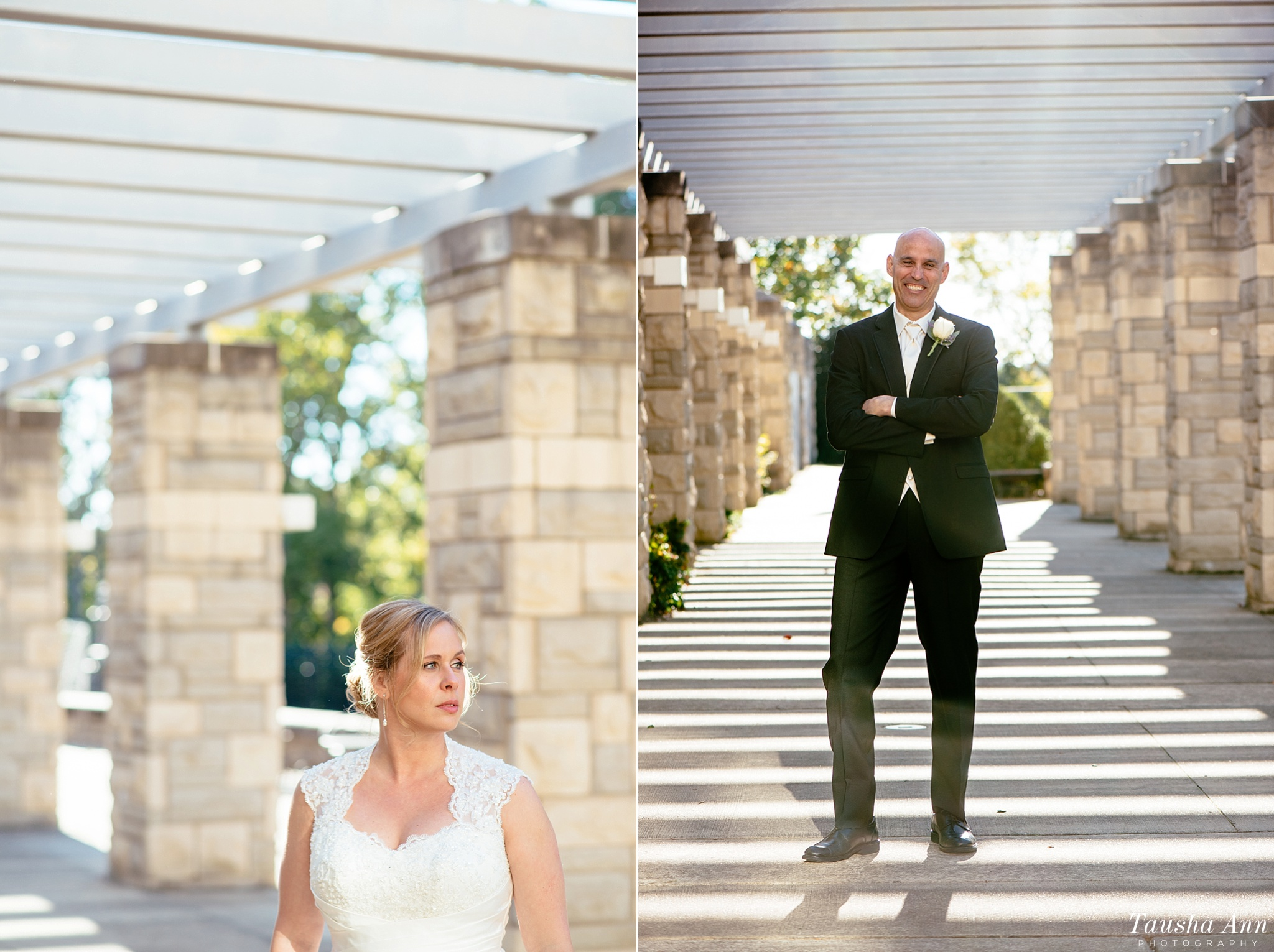 Portraits of Bride and Groom outdoors, backlit.