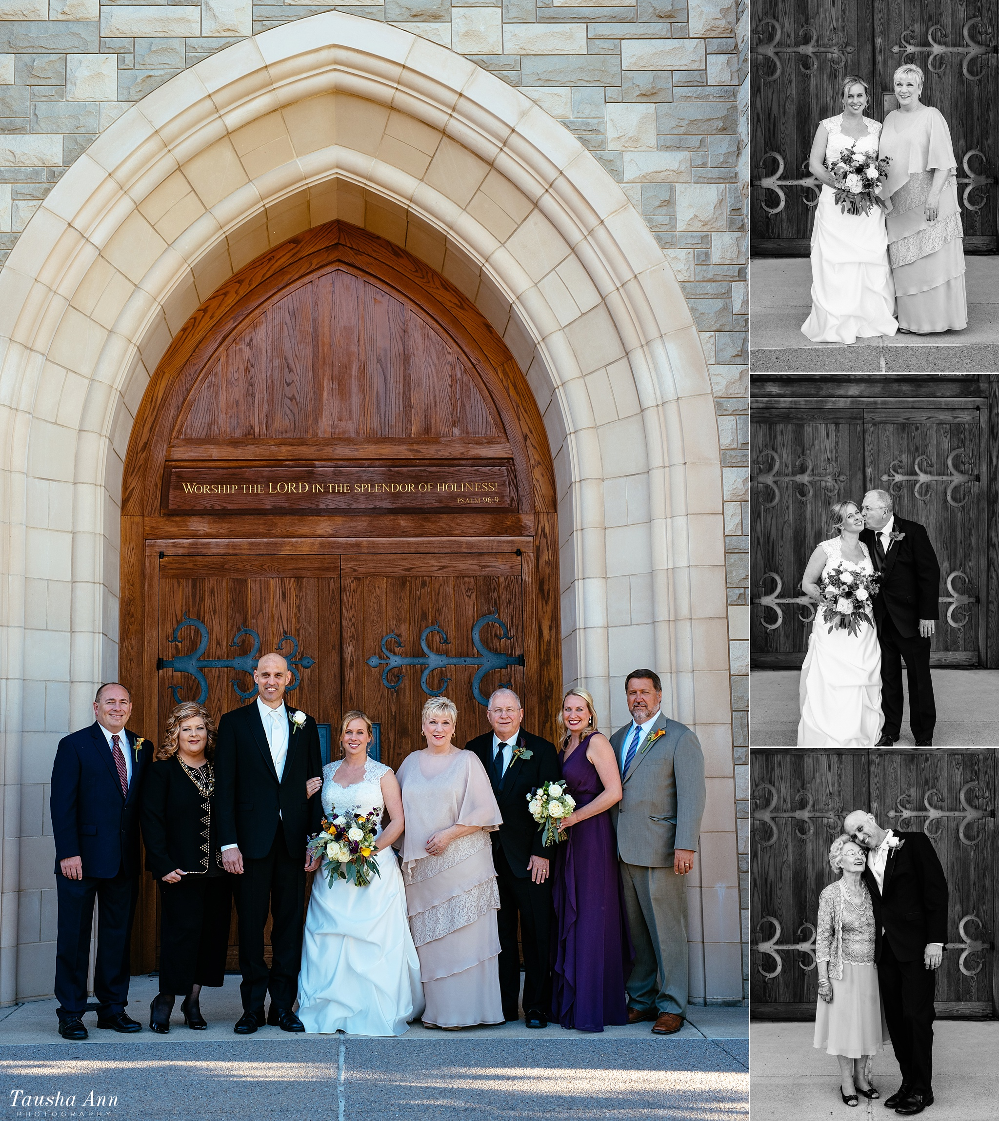Family portraits outside of covenant Presbyterian with medieval door