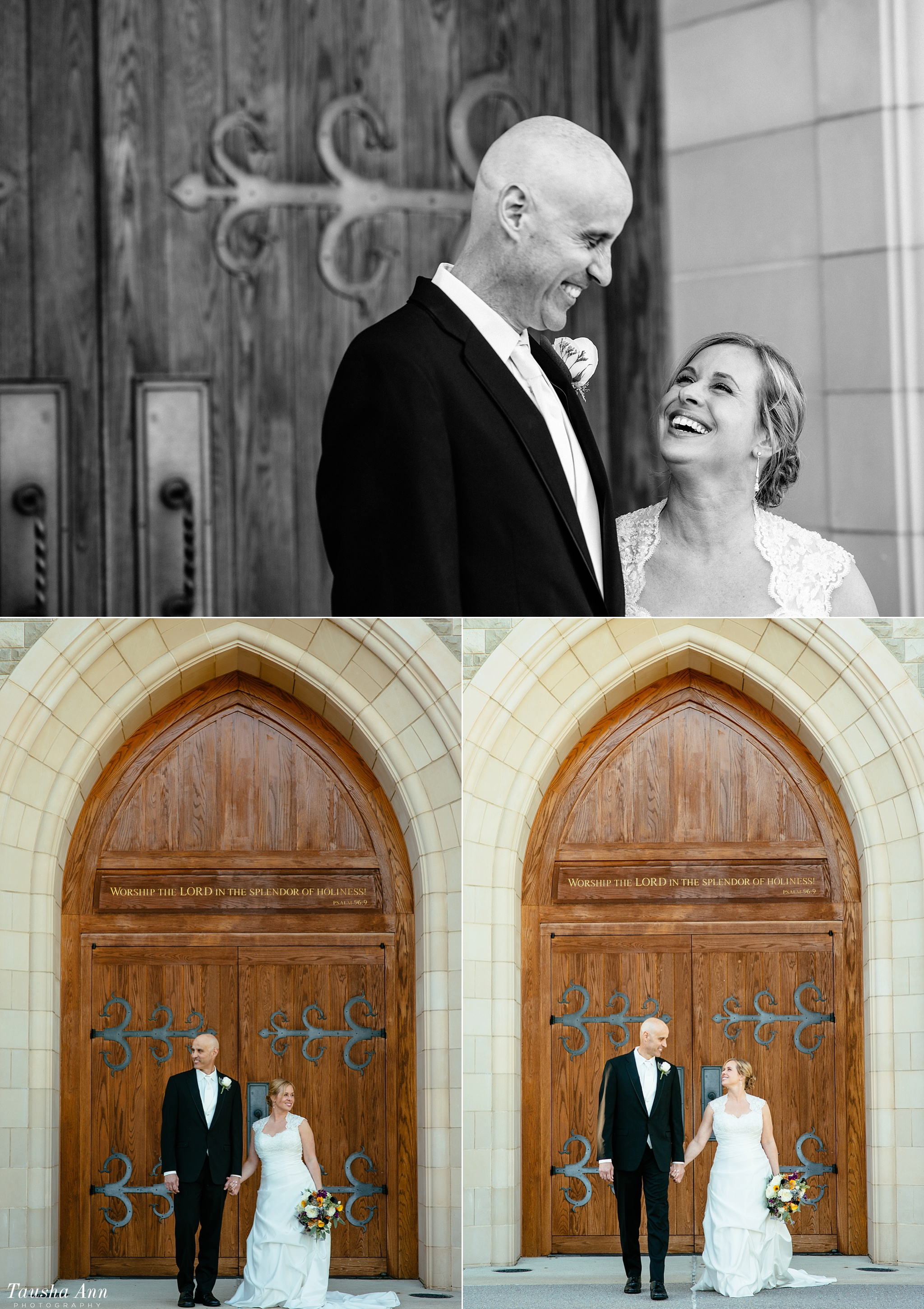 Bride and Groom portraits outside of covenant Presbyterian with medieval door