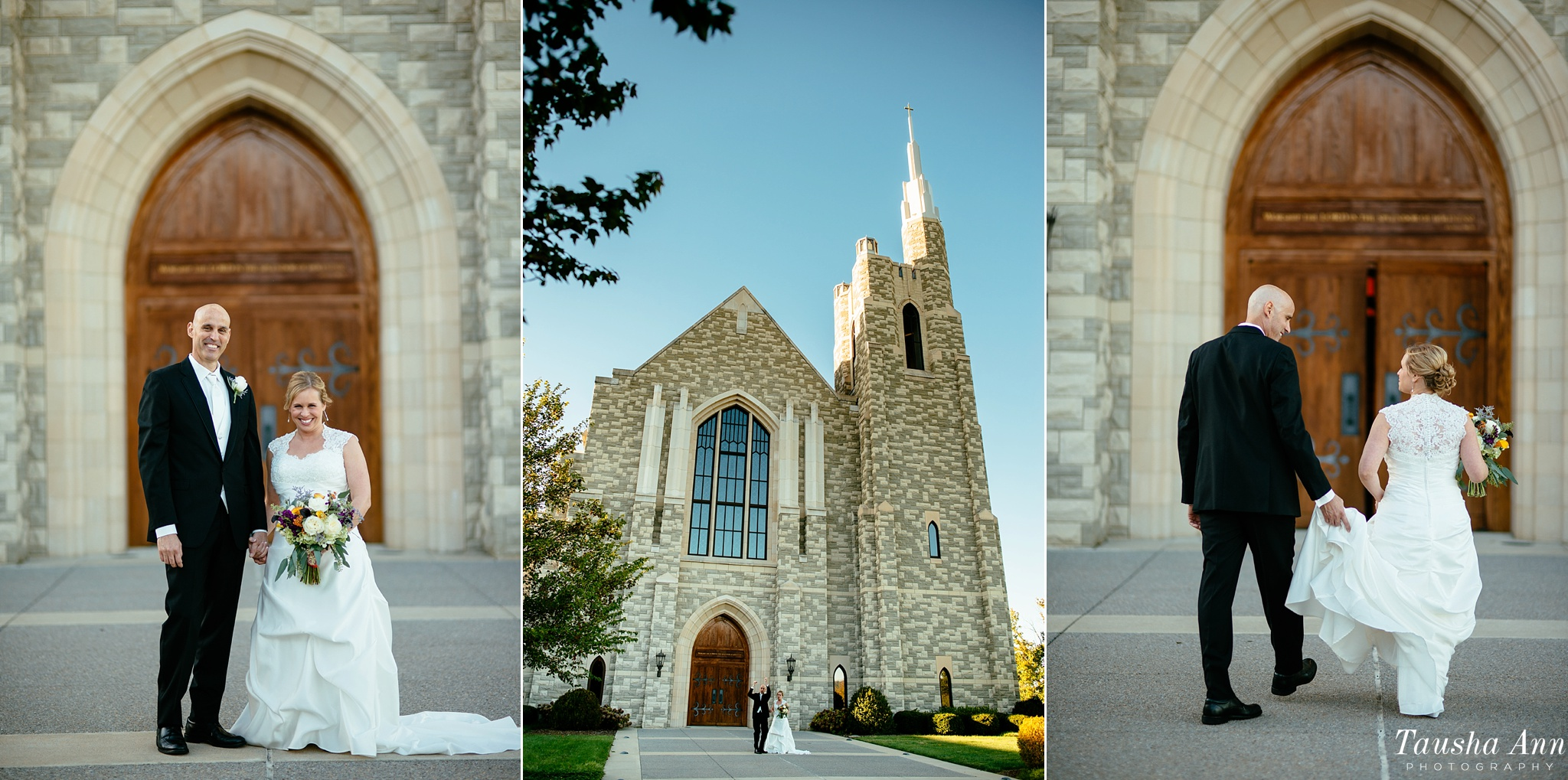 Portraits of Bride and Groom in front of Covenant Presbyterian in Nashville TN