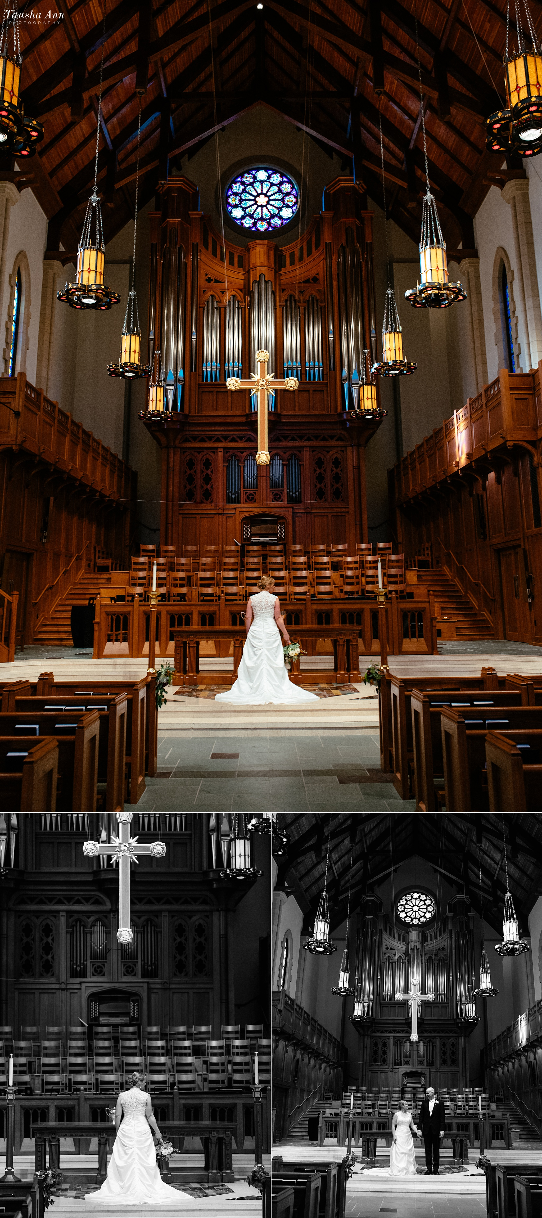 Portraits of Bride and Groom at Altar inside Covenant Presbyterian in Nashville TN