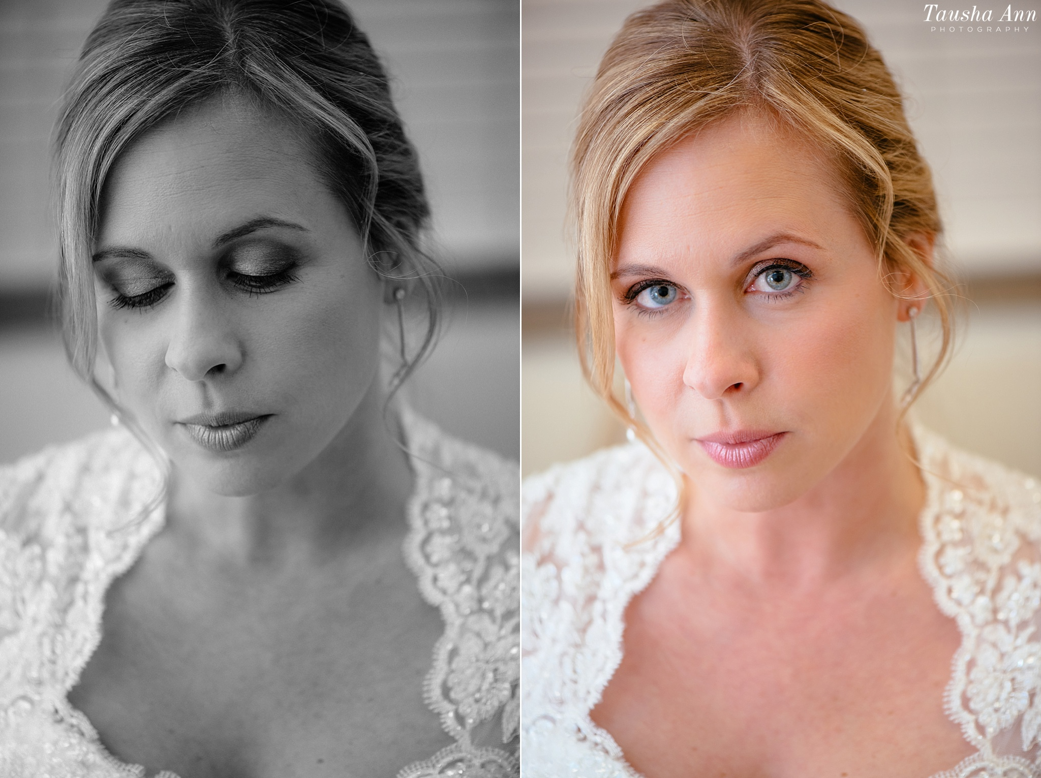 Black and White portrait of Beautiful Bride - lace dress.