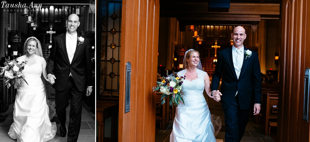 Bride and Groom exiting sanctuary at Covenant Presbyterian