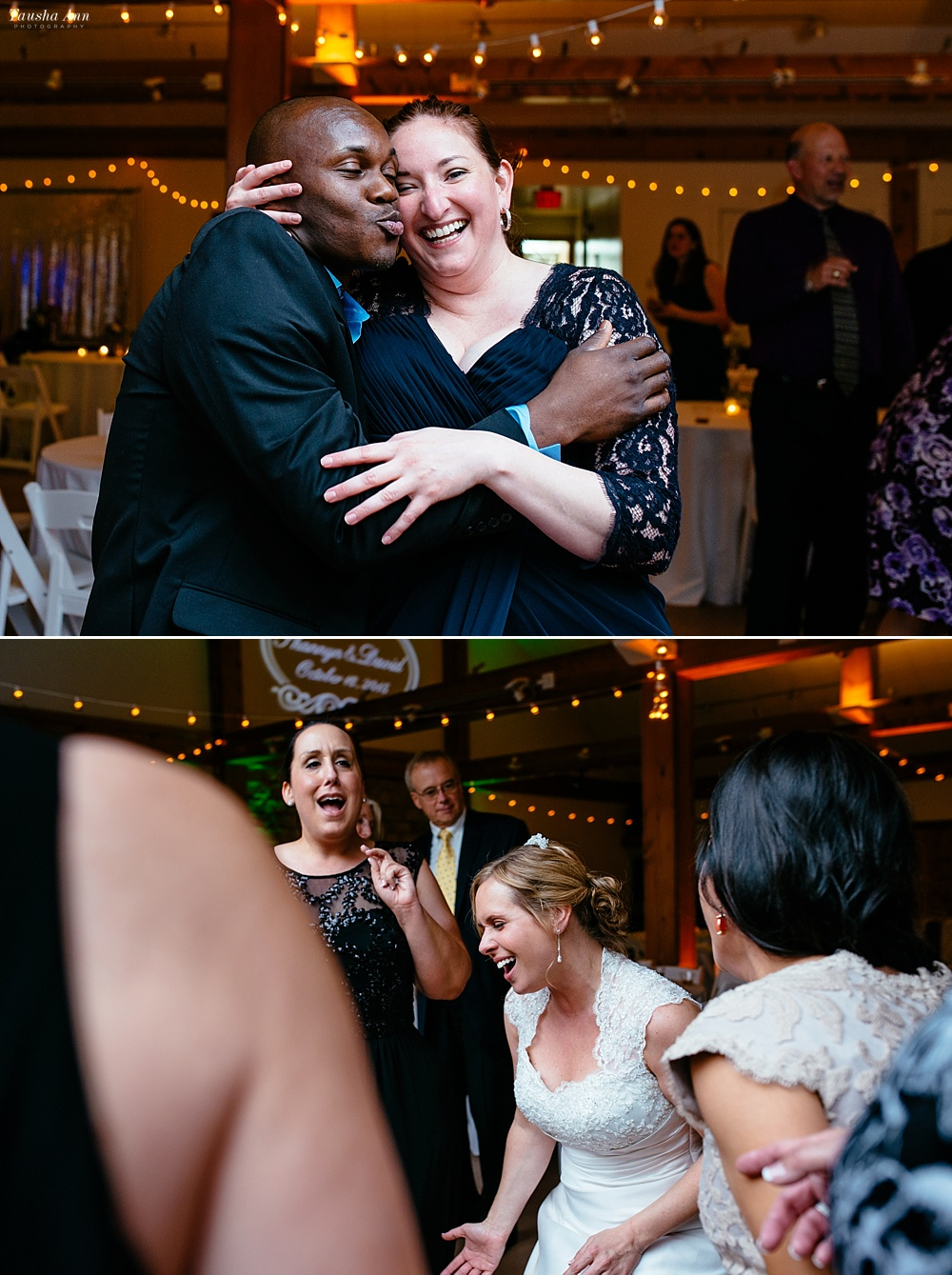Dancing at reception, candid photos of guests.