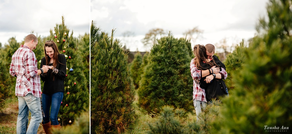 Surprise Proposal at Country Cove Christmas Tree Farm. Guy and Girl Hugging. Excitement.