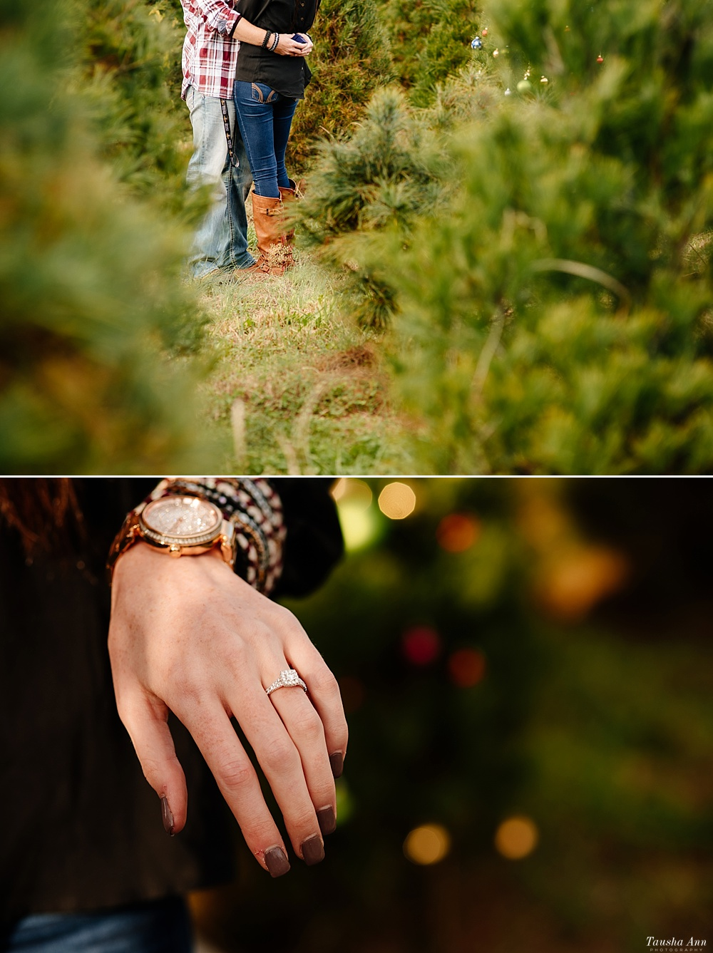 Surprise Proposal at Country Cove Christmas Tree Farm. Detail Photo of Ring and the Couples shoes and pants.