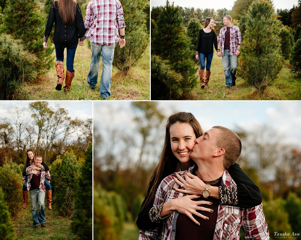 Surprise Proposal at Country Cove Christmas Tree Farm. Guy and girl holding hands walking in between trees. Girl getting a piggy back.