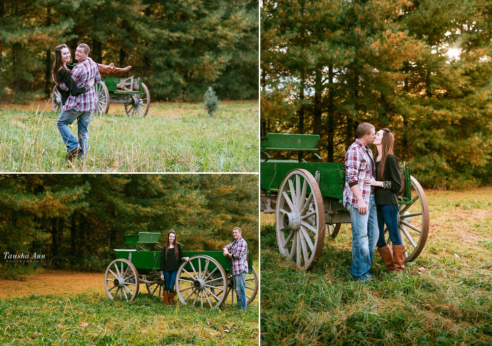 Surprise Proposal at Country Cove Christmas Tree Farm. Kissing, backlit by the sun. Hanging out neat the wagon. Boyfriend carrying girlfriend.