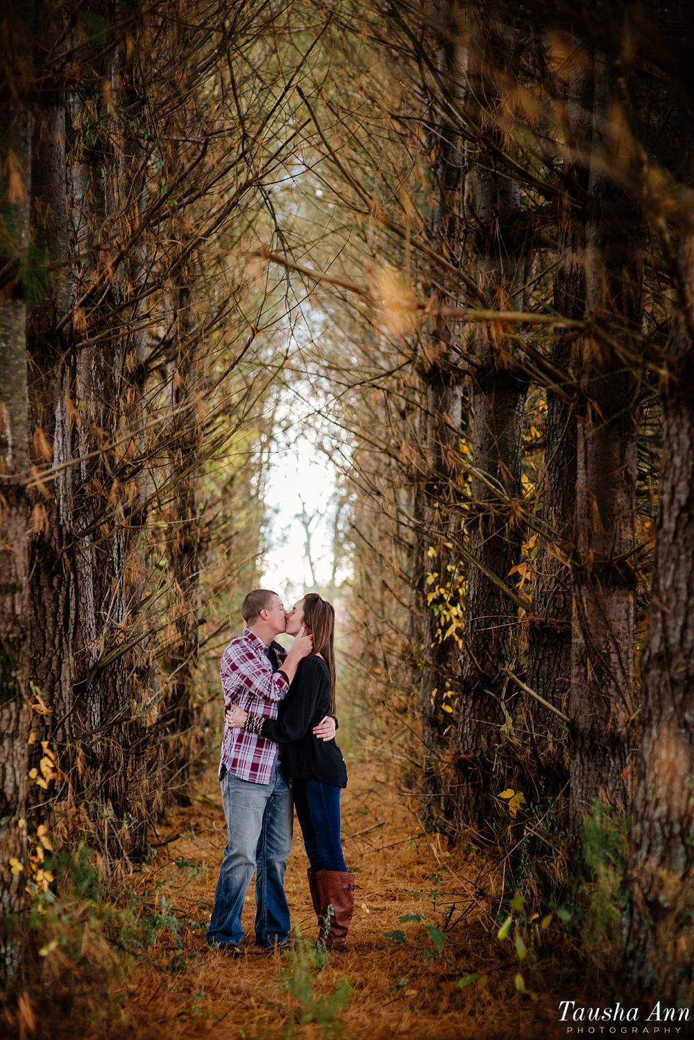 Surprise Proposal at Country Cove Christmas Tree Farm. Kissing in between a sea of trees.