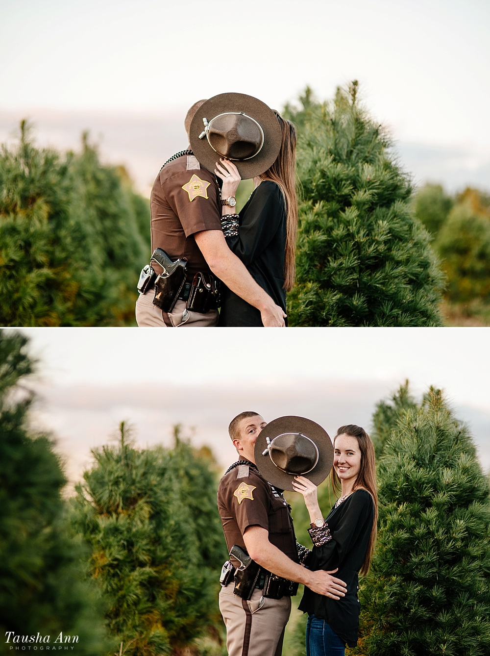 Surprise Proposal at Country Cove Christmas Tree Farm. Police officer surprise proposal at Sunset. Forehead to Forehead between Christmas Trees. Hiding behind patrol hat.