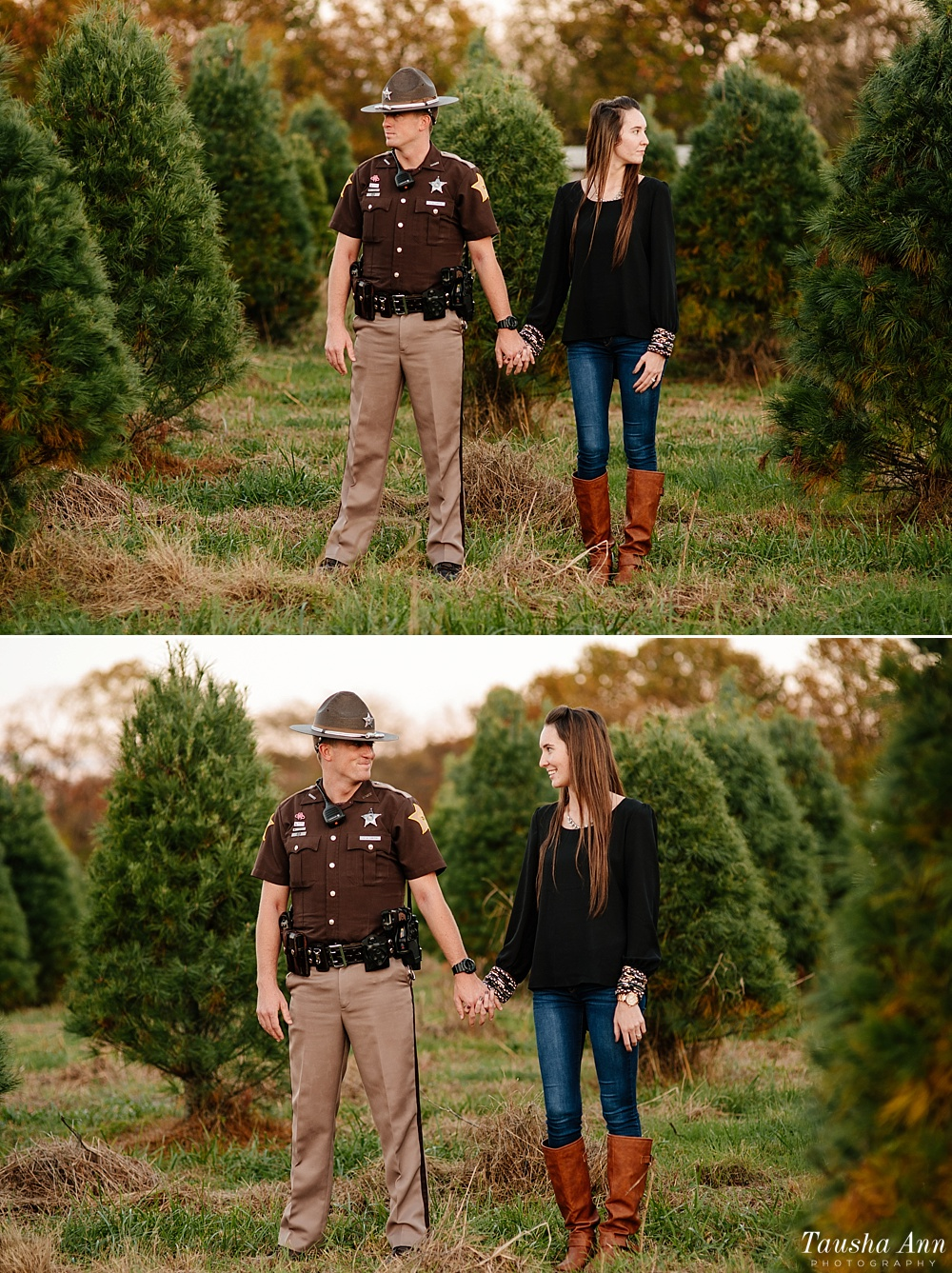 Surprise Proposal at Country Cove Christmas Tree Farm. Police officer surprise proposal at Sunset. Engagement Portrait Standing in between Christmas Trees.
