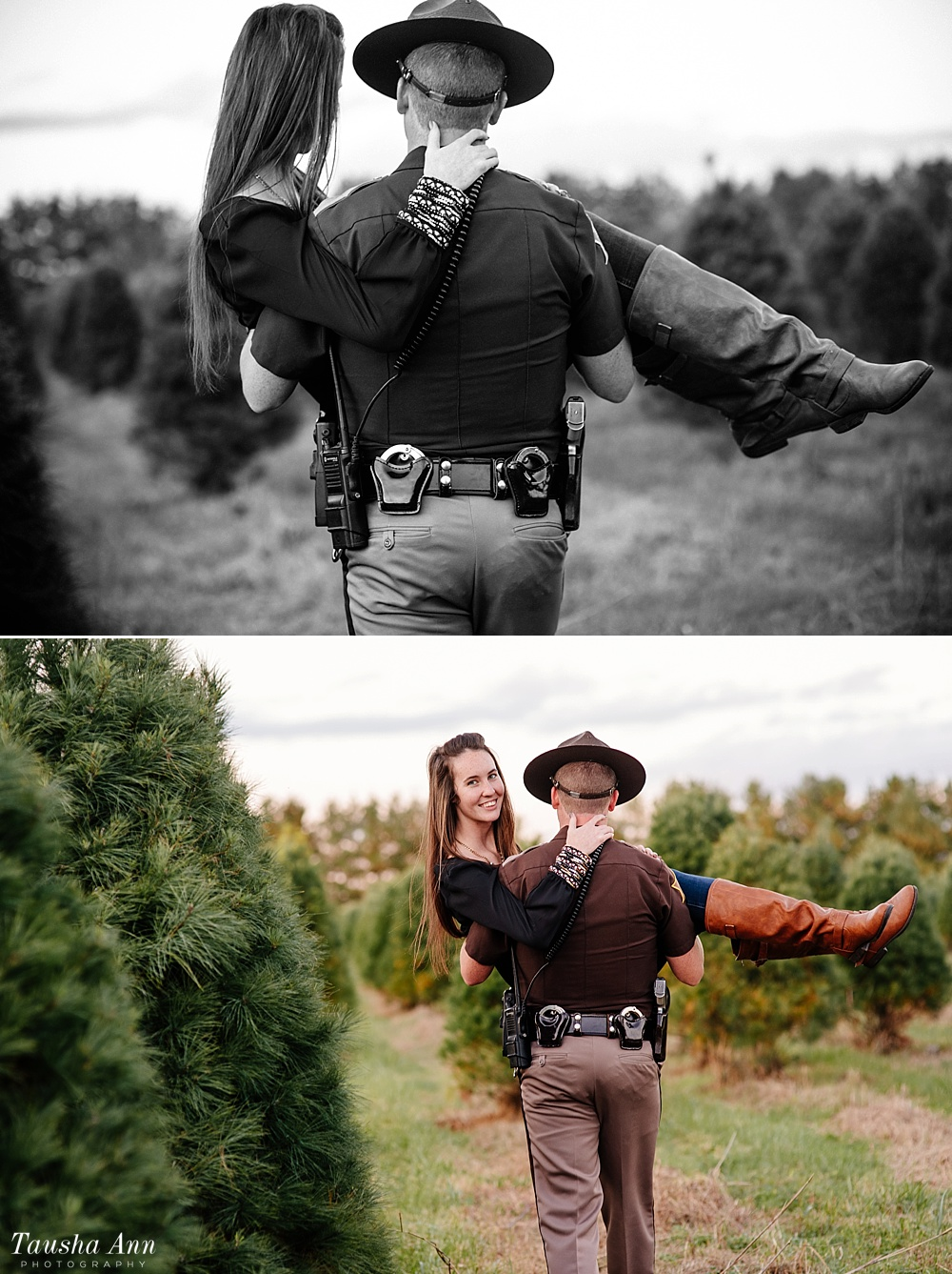 Surprise Proposal at Country Cove Christmas Tree Farm. Police officer surprise proposal at Sunset. Police Officer / Man carrying girl in between Christmas Trees.