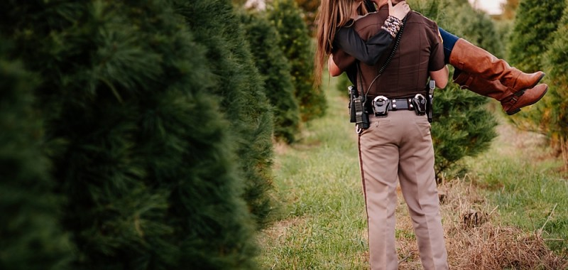 Police Officer Surprise Proposal at Country Cove Christmas Tree Farm | Murfreesboro, TN