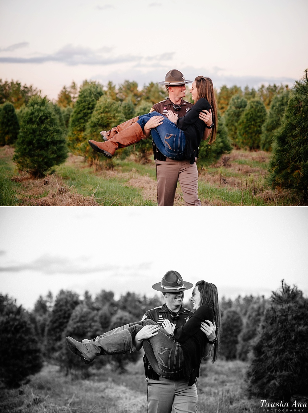 Surprise Proposal at Country Cove Christmas Tree Farm. Police officer surprise proposal at Sunset. Having fun laughing while carrying fiance between Christmas Trees.