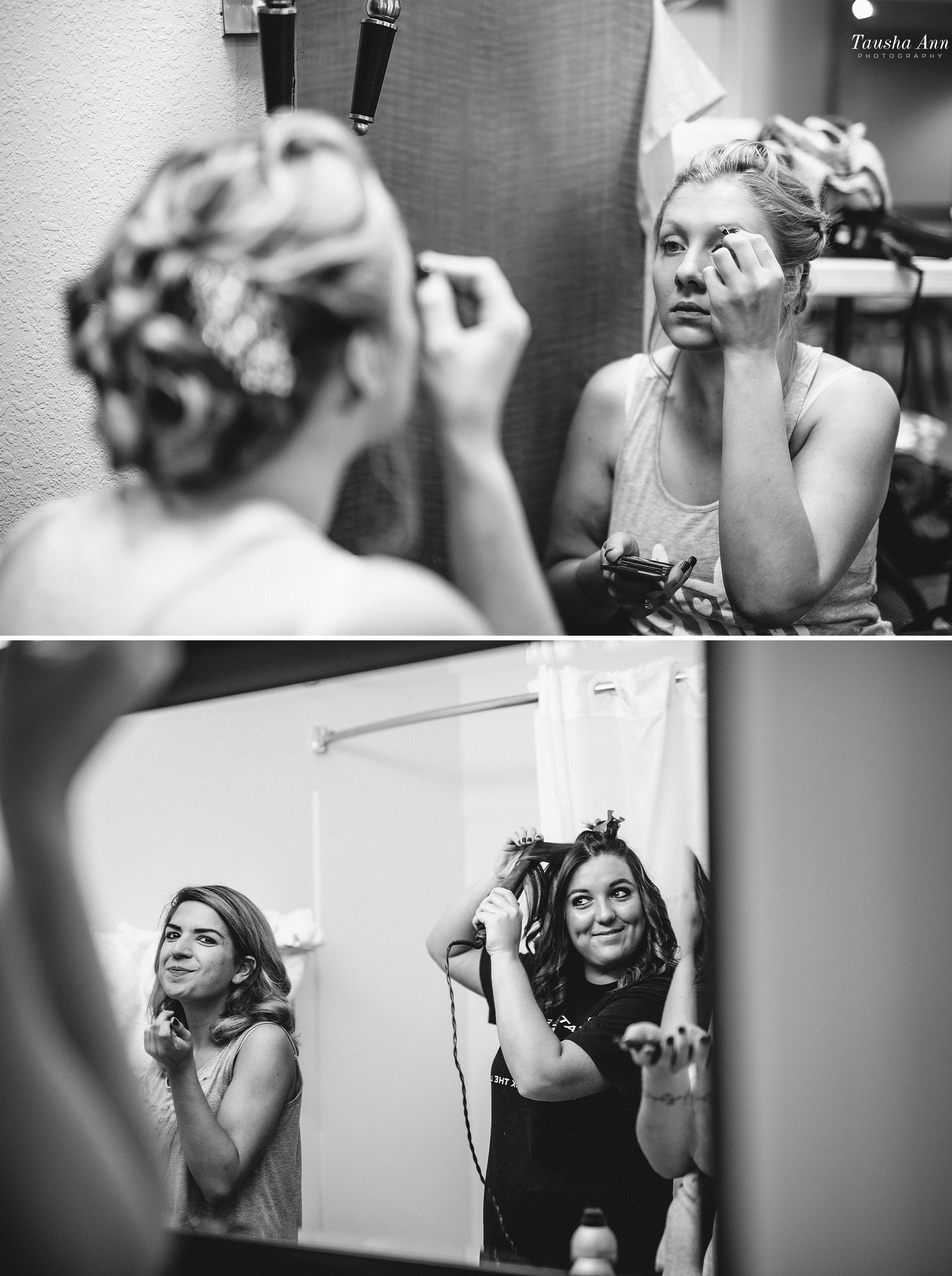 Bride getting ready photo. Looking in mirror putting on mascara.