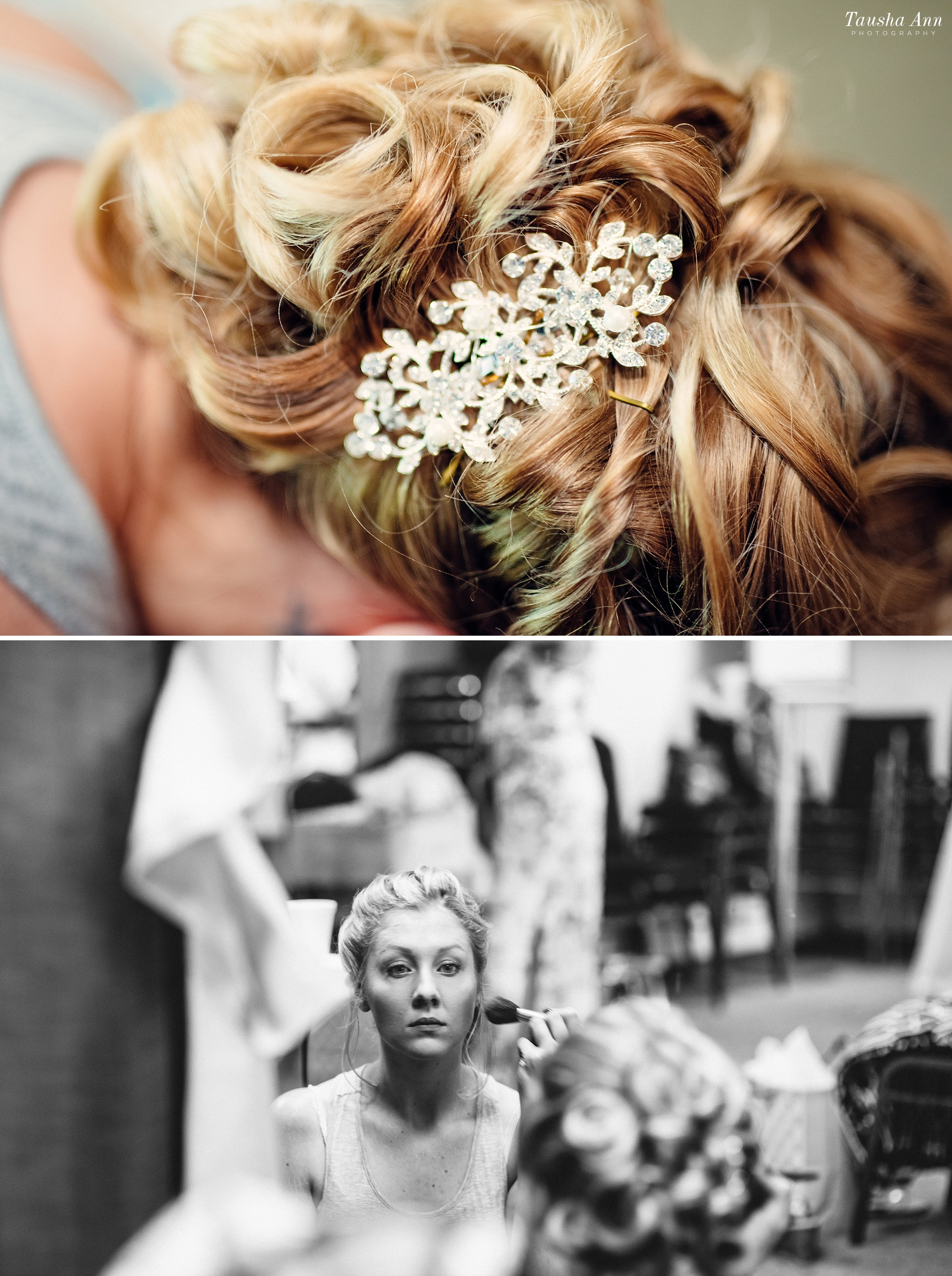Bride looking at herself seriously in the mirror. Photo of flower detail in brides hair.