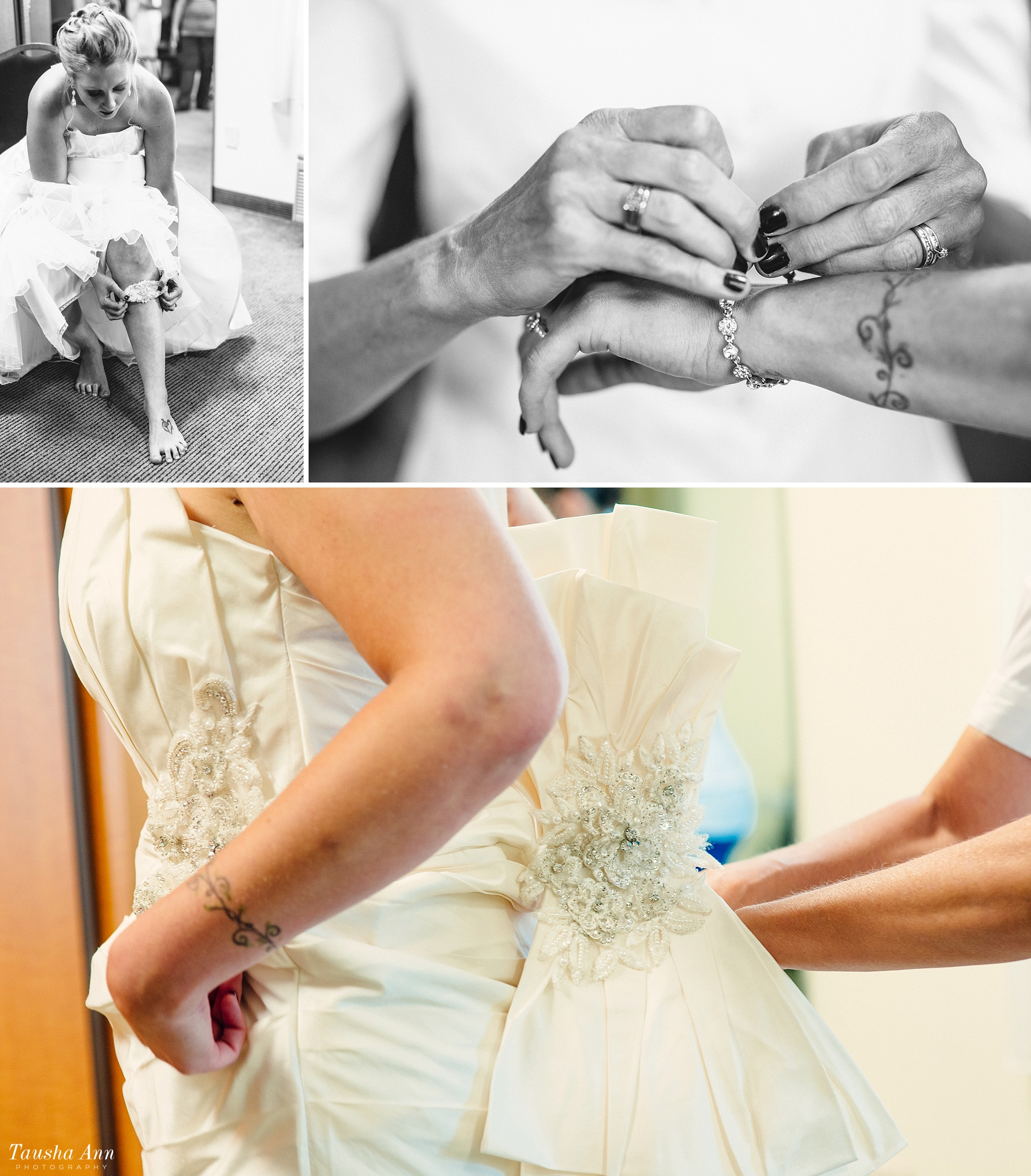 Detail images of final touches of bride and wedding dress. Putting on bracelet. Bride putting garter on leg.