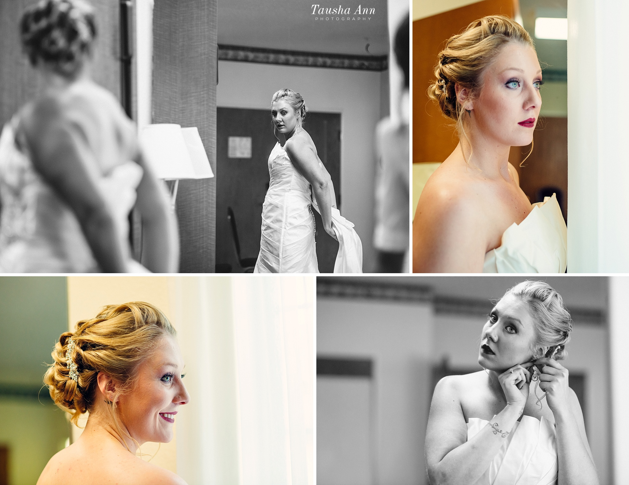 Final portraits of bride looking out window, looking in mirror and putting on earrings.