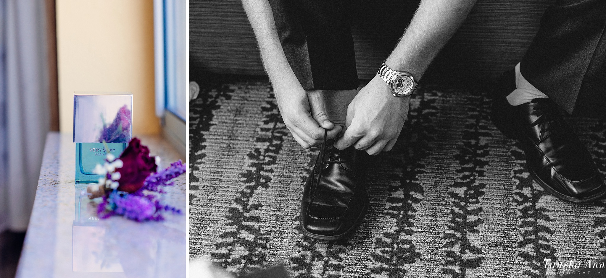 Detail images of groom lacing up shoes and boutonniere.