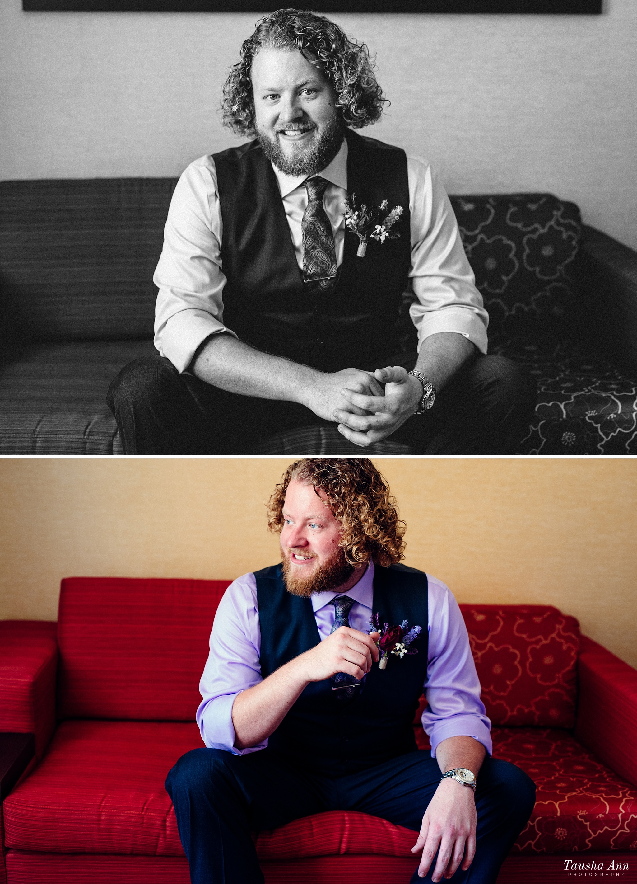 Portraits of Groom sitting on red couch in hotel room.