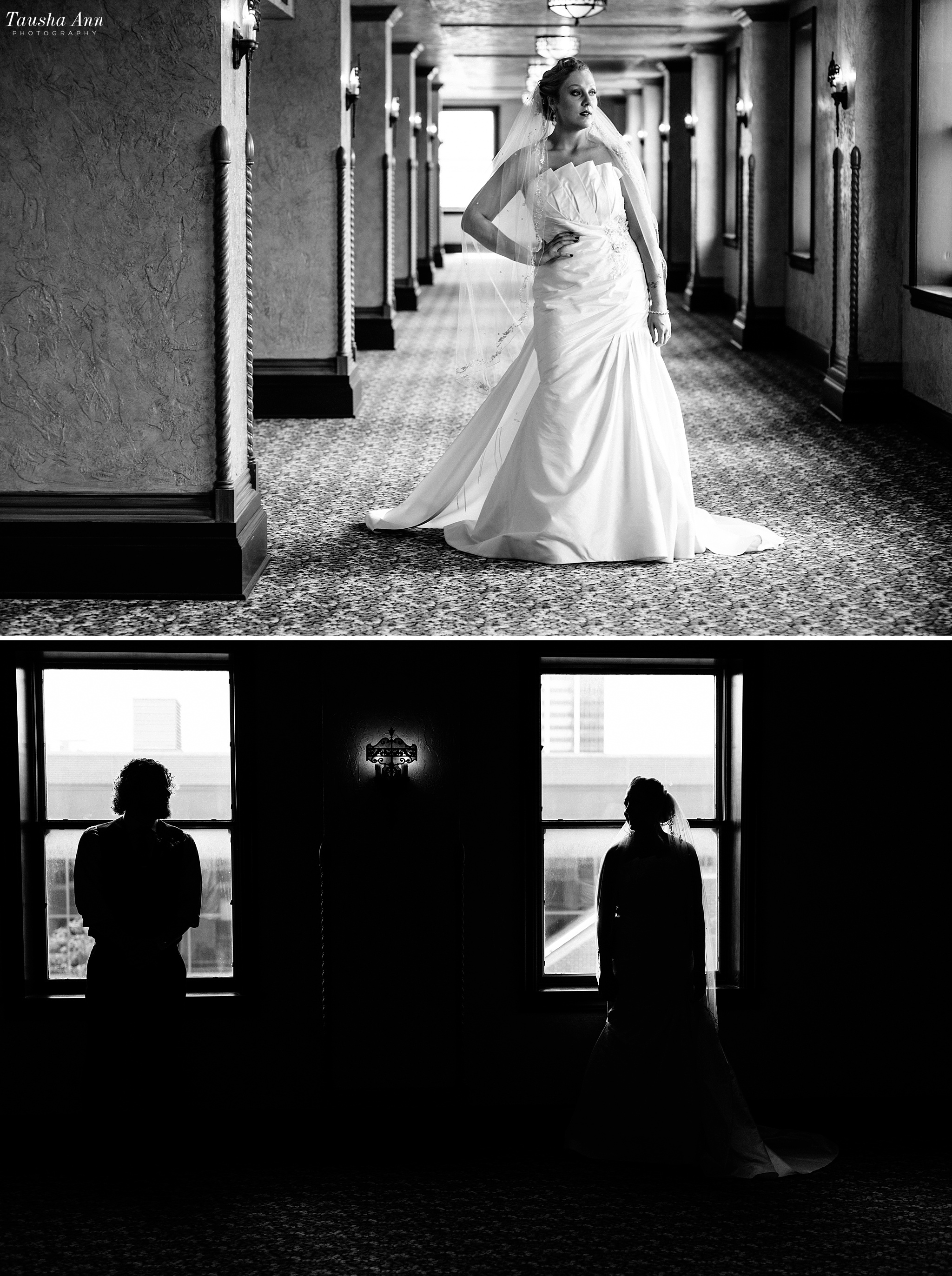 Black and white portrait of Bride. Silhouette of bride and groom in window.