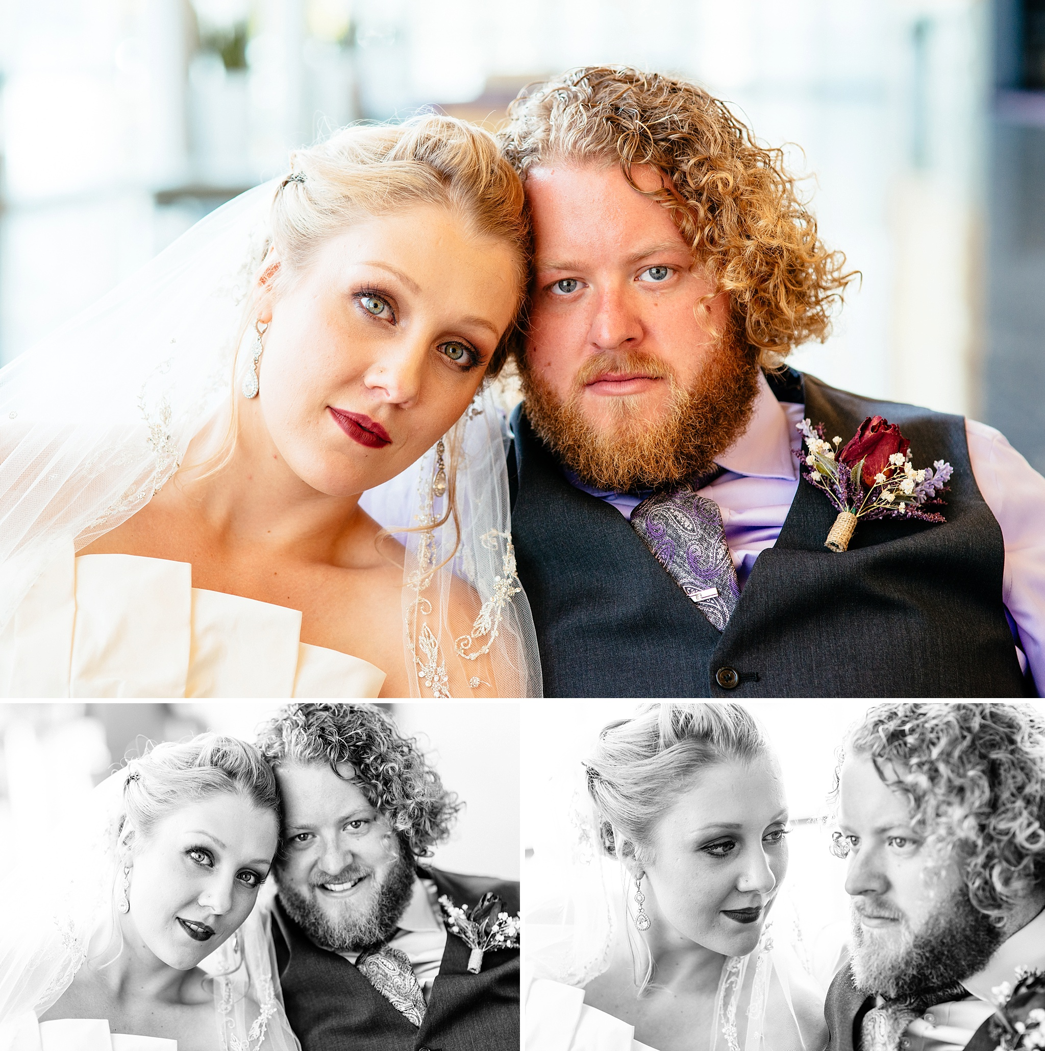 Bride and groom portraits close-up in color and black and white.