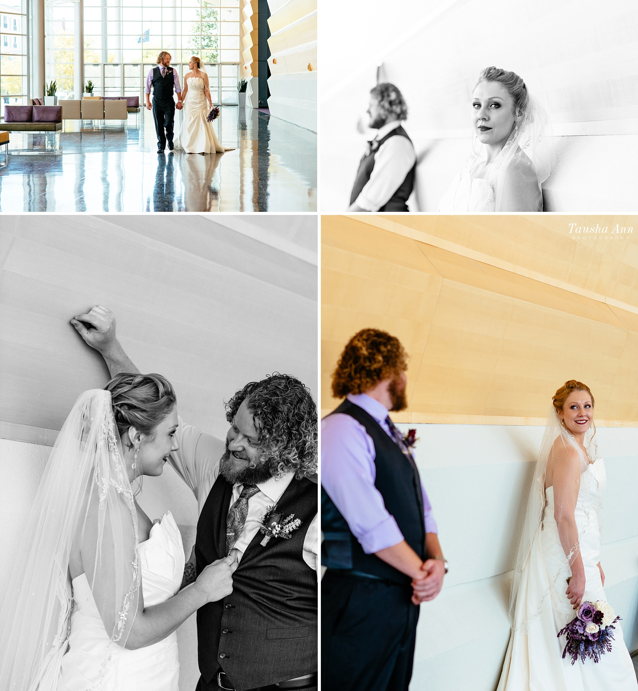 Bride and groom portraits against wall at Grand Wayne Convention Center