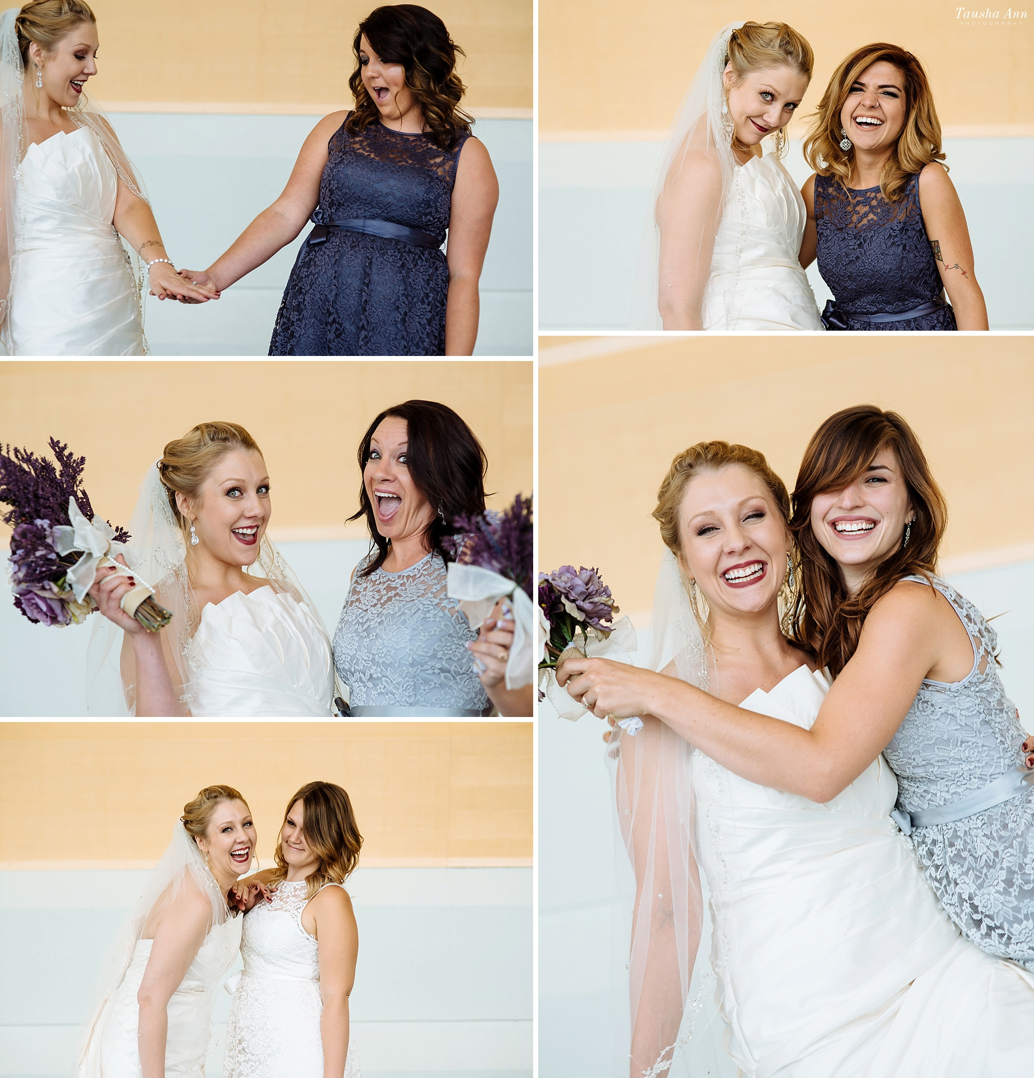 Portraits of all of the Bridesmaids each individually with bride. Goofing off and having fun.