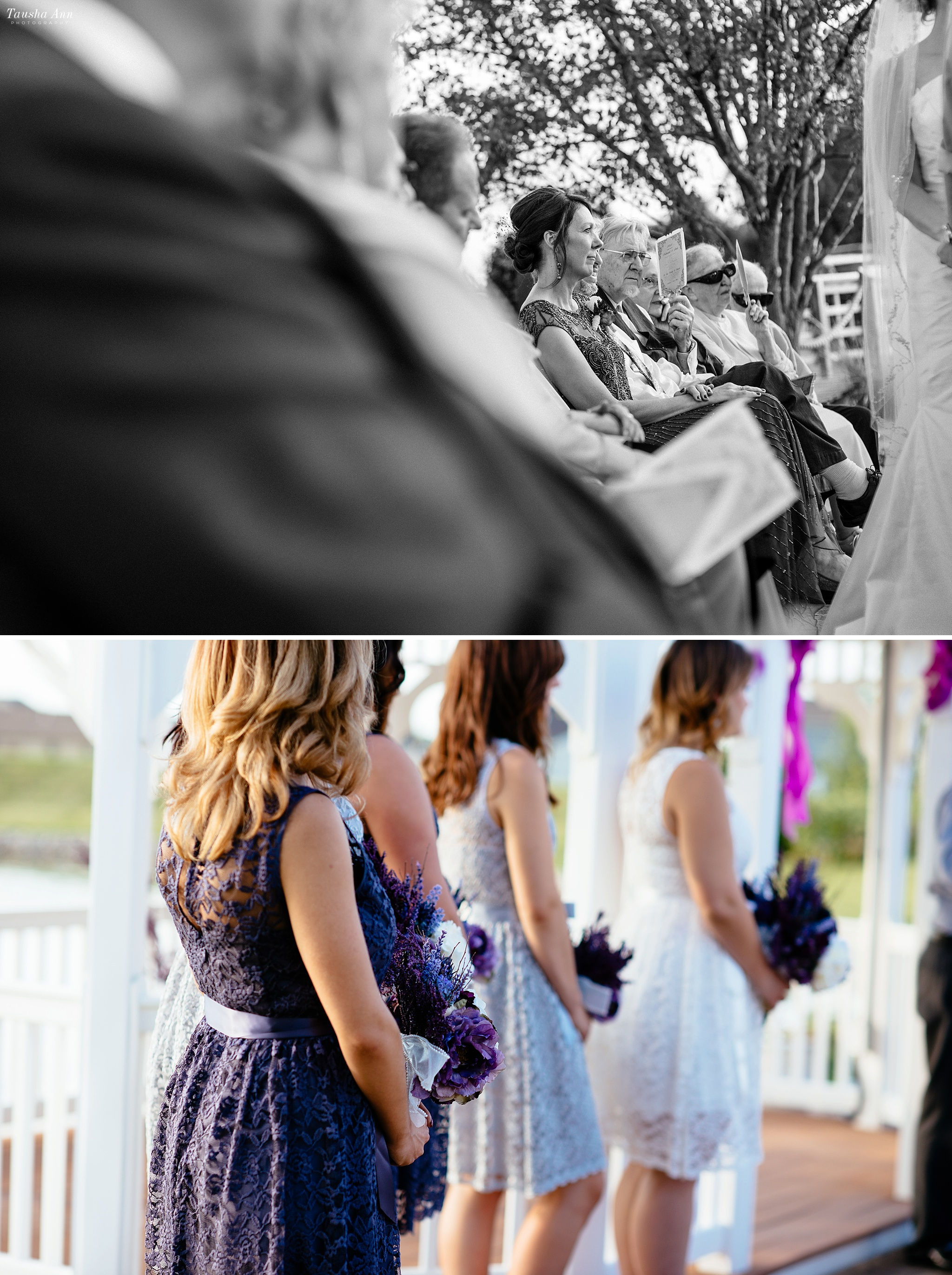 Candid images of bridesmaids and guests.