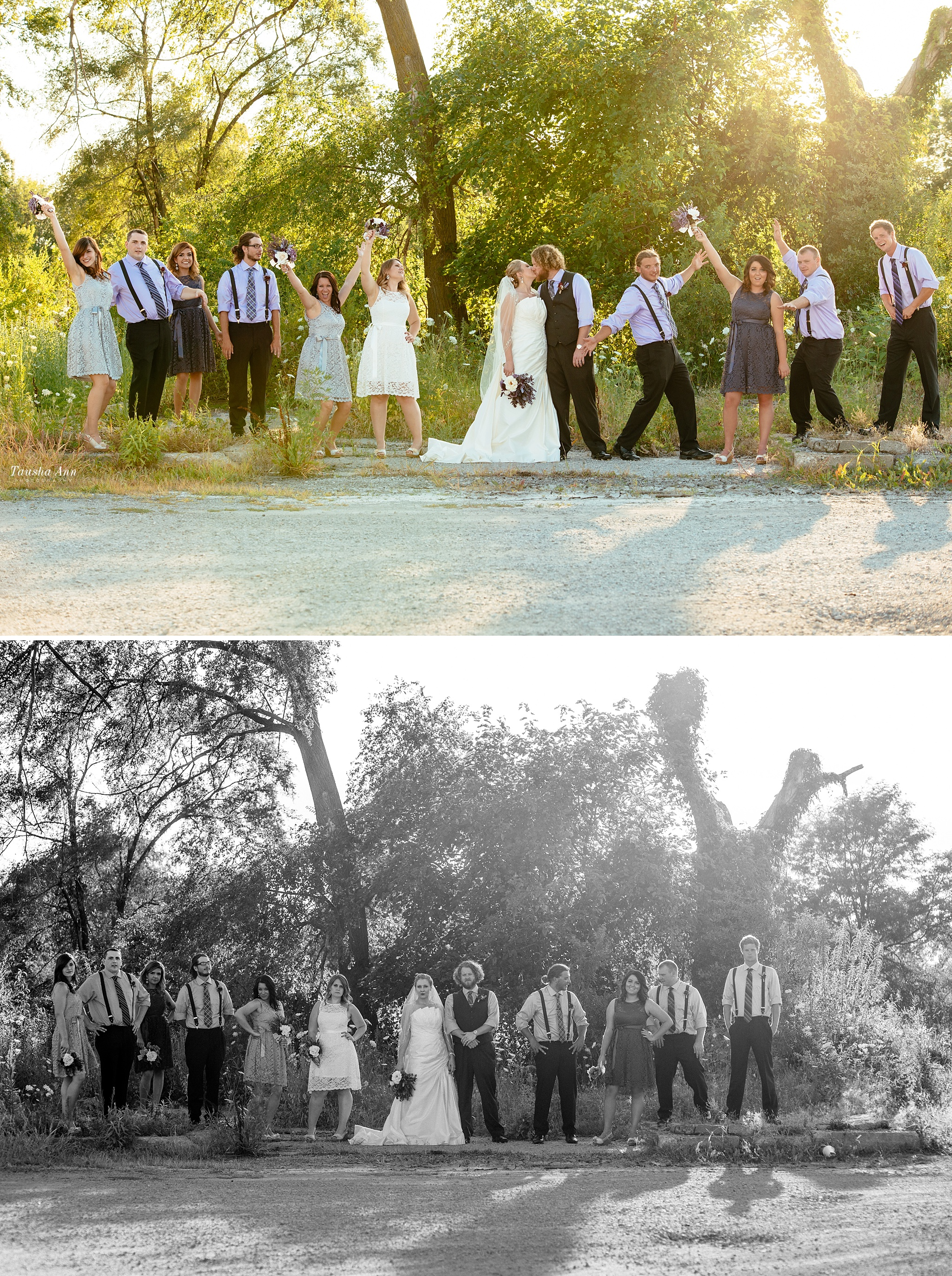 Portraits of entire wedding party outdoors.