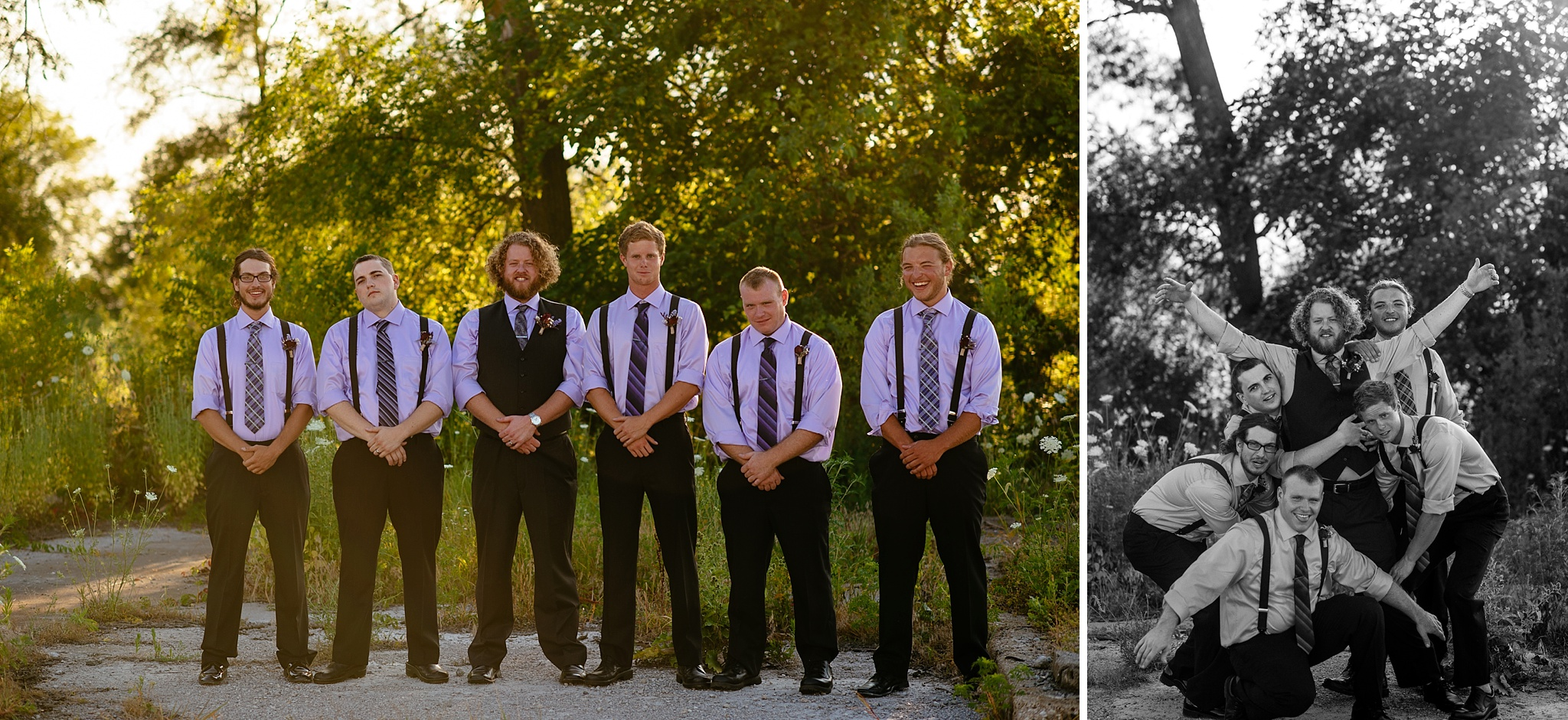 Photos of Groomsment outdoors by trees being silly.