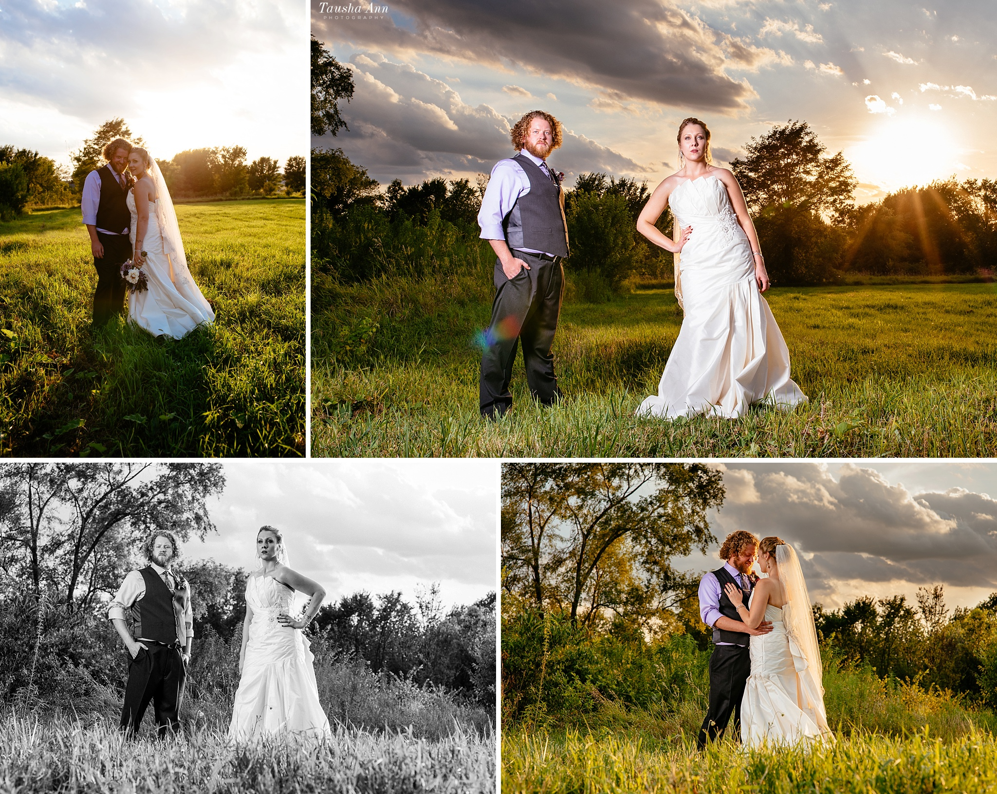 Epic portraits of bride and groom outdoors with einstein light and sun peeking through the clouds.