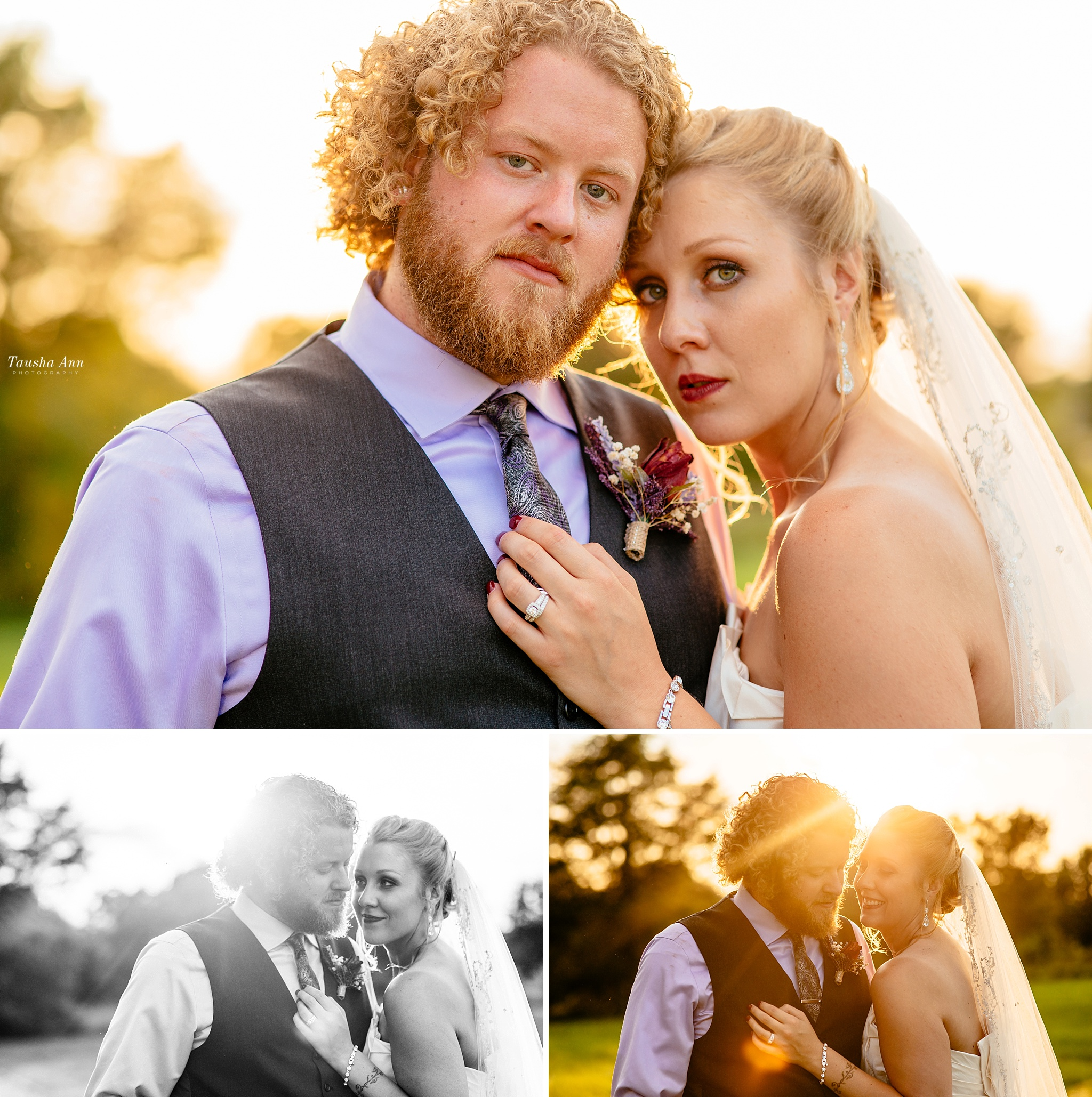 Backlit by the sun. Portrait of Bride and groom. Close-up. Taken at The Shiloh in Fort Wayne, INDIANA.