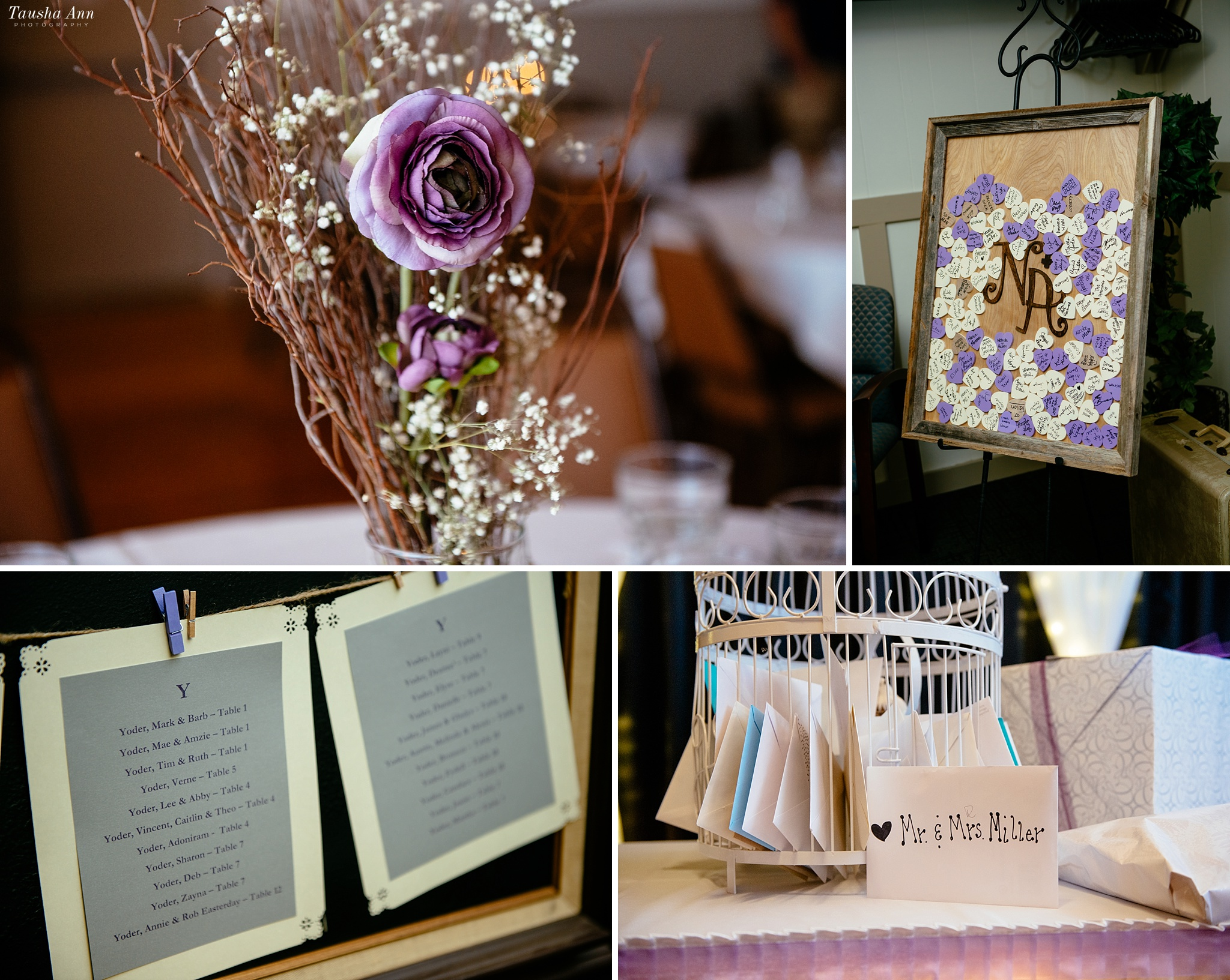 Detail images at Reception. Flowers, table seating, wedding cards and well wishes.