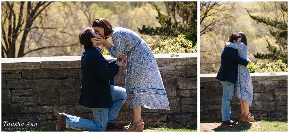 Surprise Proposal at Cheekwood Botanical Gardens - She Said Yes - Kiss