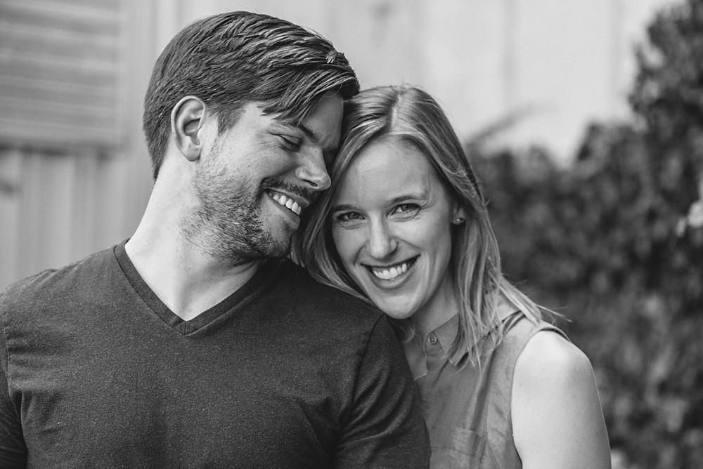 Couple smiling - black and white, close up with Nikon and Sigma 85mm Nashville-Wedding-Photographer-Engagement_Photos_Downtown_Franklin_TN_Tausha_Ann_Photography_0002