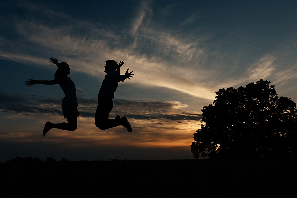 Silhouette couple jumping - Arrington Vineyards, in the vines - Nashville-Wedding-Photographer-Engagement_Photos_Downtown_Franklin_TN_Tausha_Ann_Photography_0006