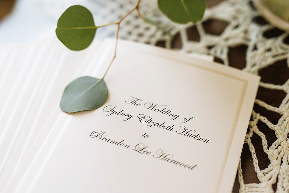 Wedding program, green leaves