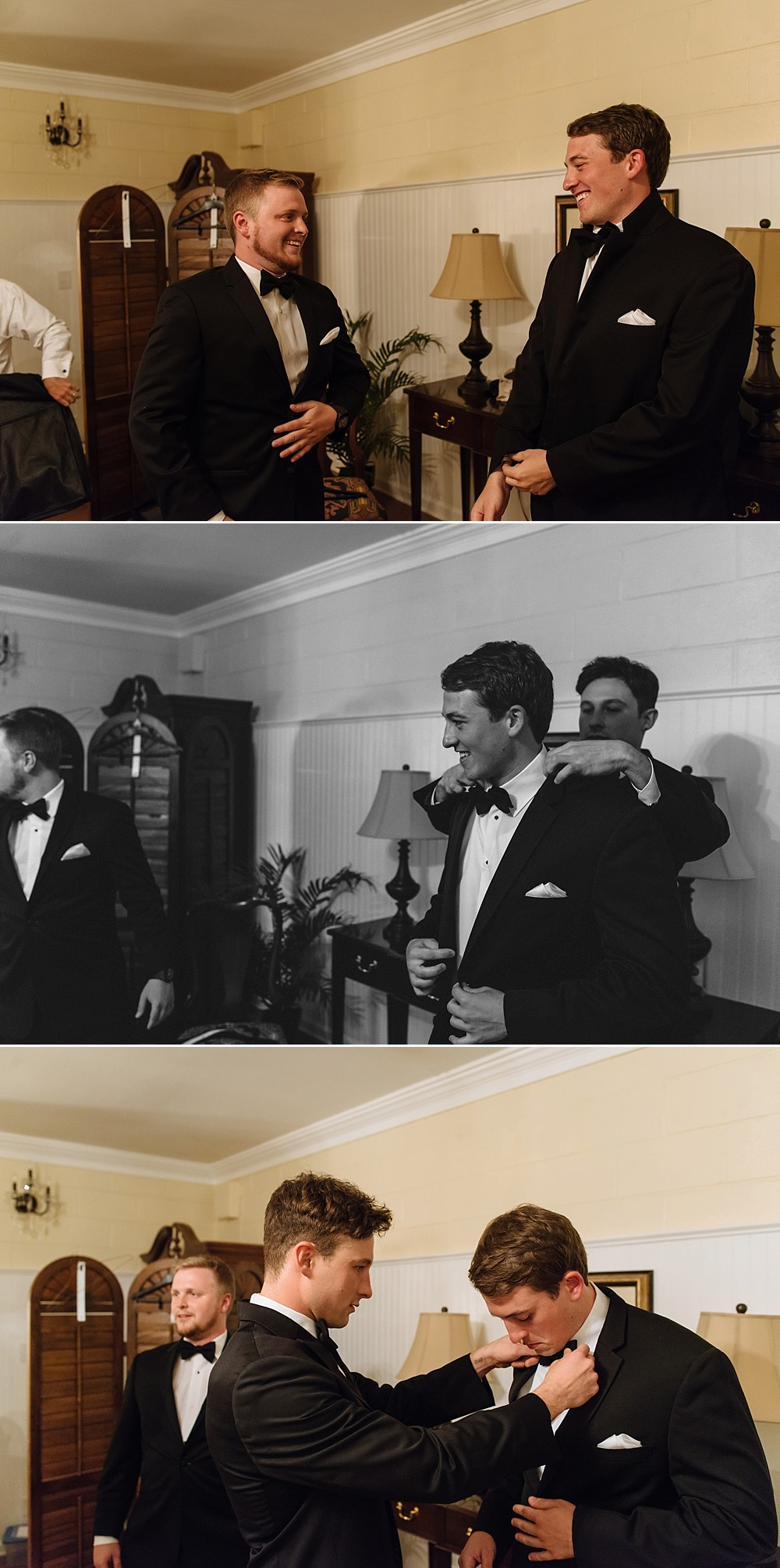 Groom and groomsmen, final images, getting ready, putting on suit