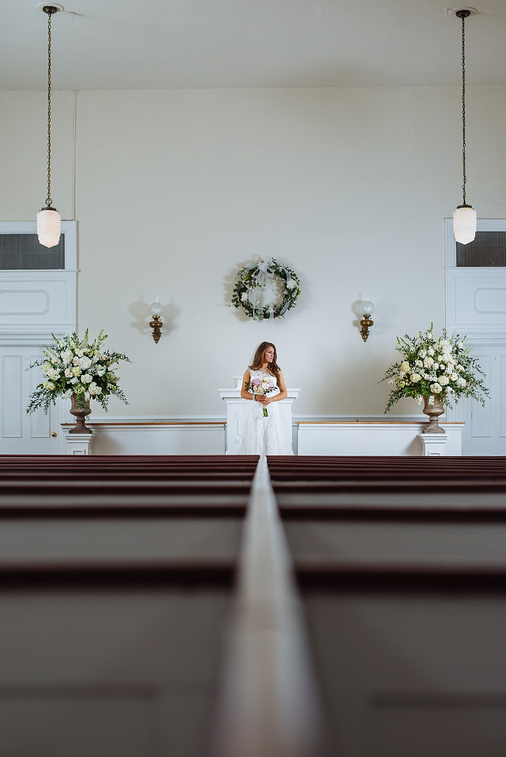 Bridal Portrait, Owen Chapel Church, Church Pews