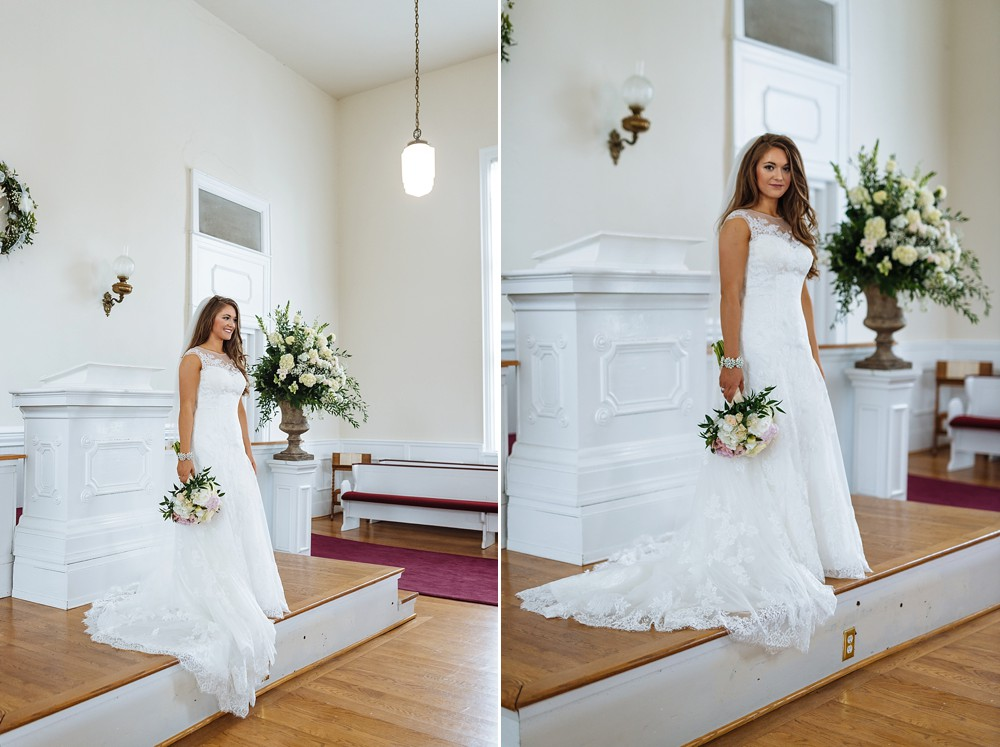 Bridal Portrait, Owen Chapel Church, Lace wedding dress