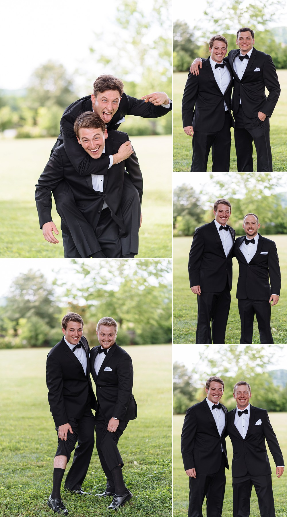 Groom with Groomsmen, goofing off having fun outdoors.