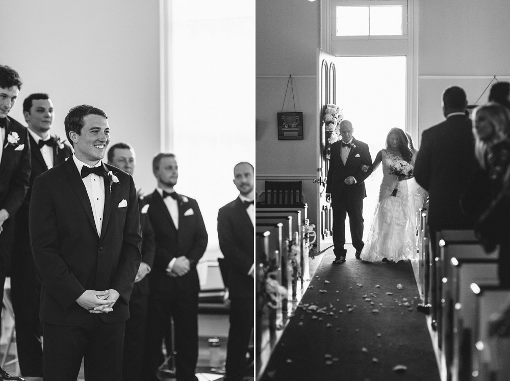 Bride walking into church, grooms first look.