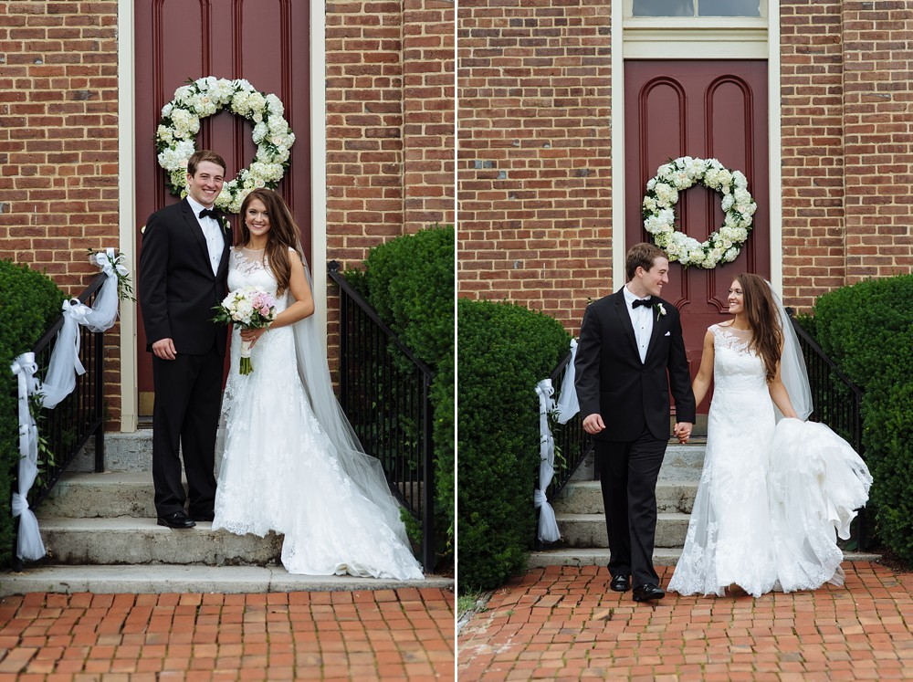 Bride and Groom portraits in front of Owen Chapel