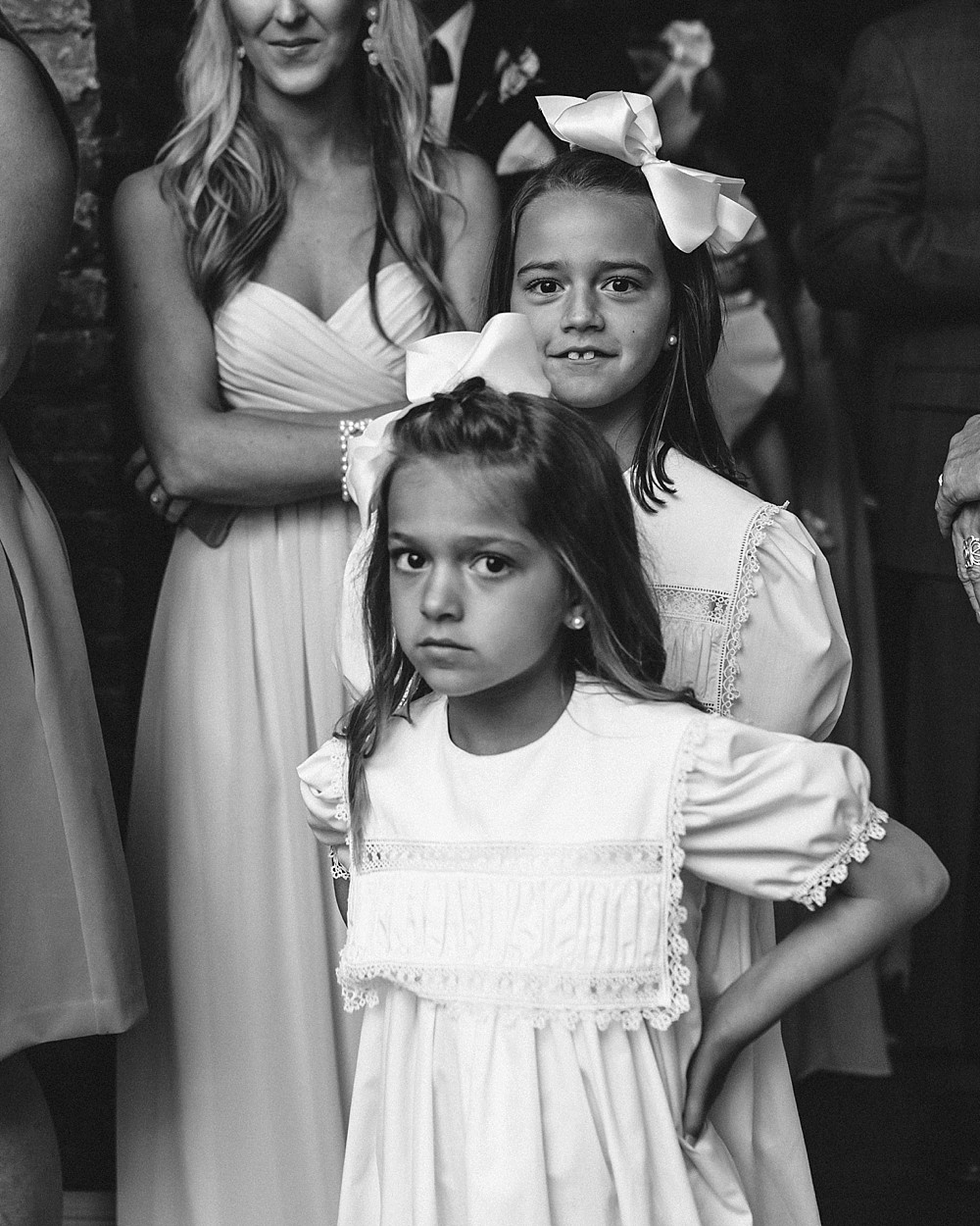 The serious flower girl, black and white